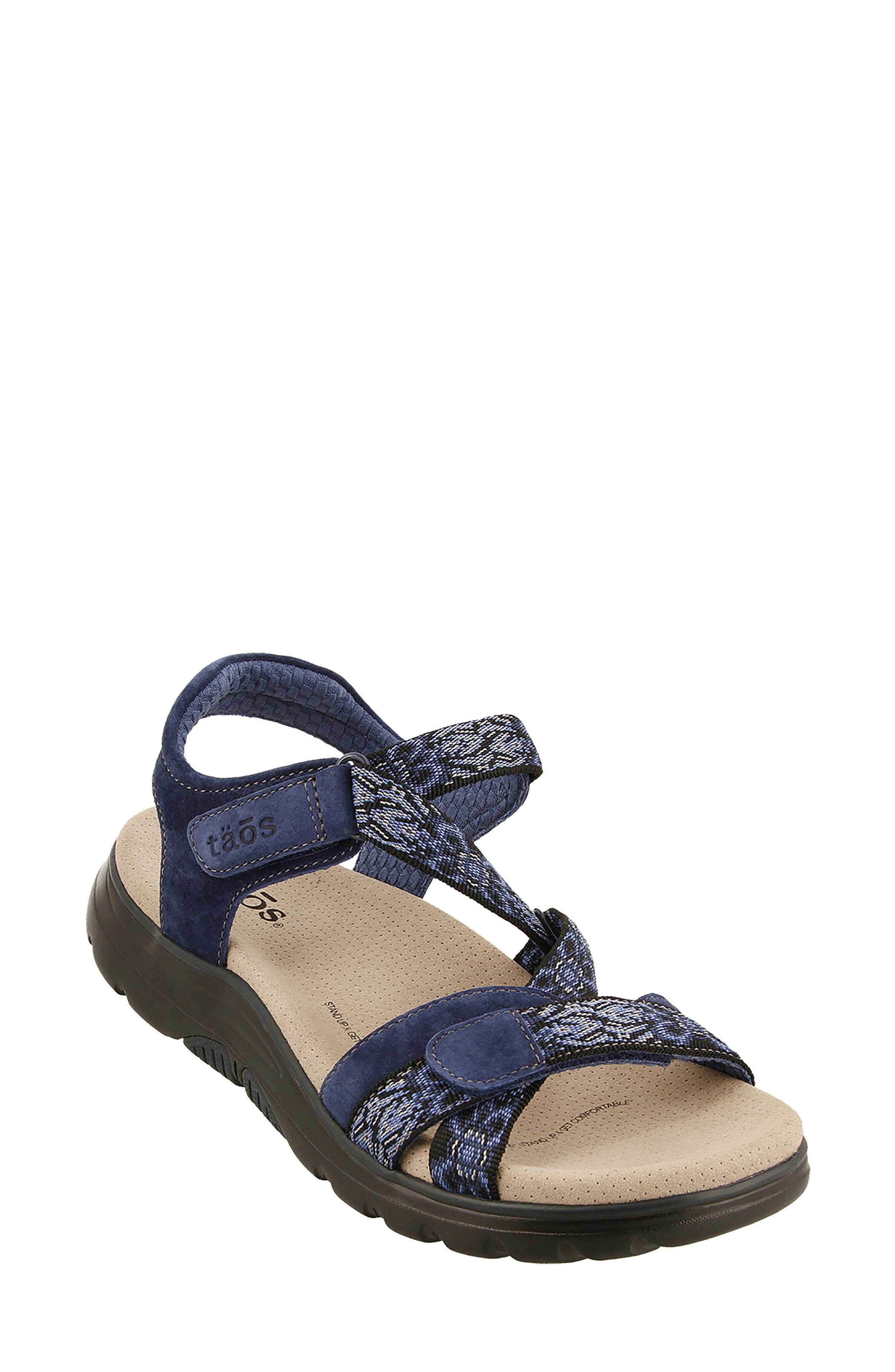 Zen Sandal,                             Main thumbnail 1, color,                             Navy/ Blue Leather