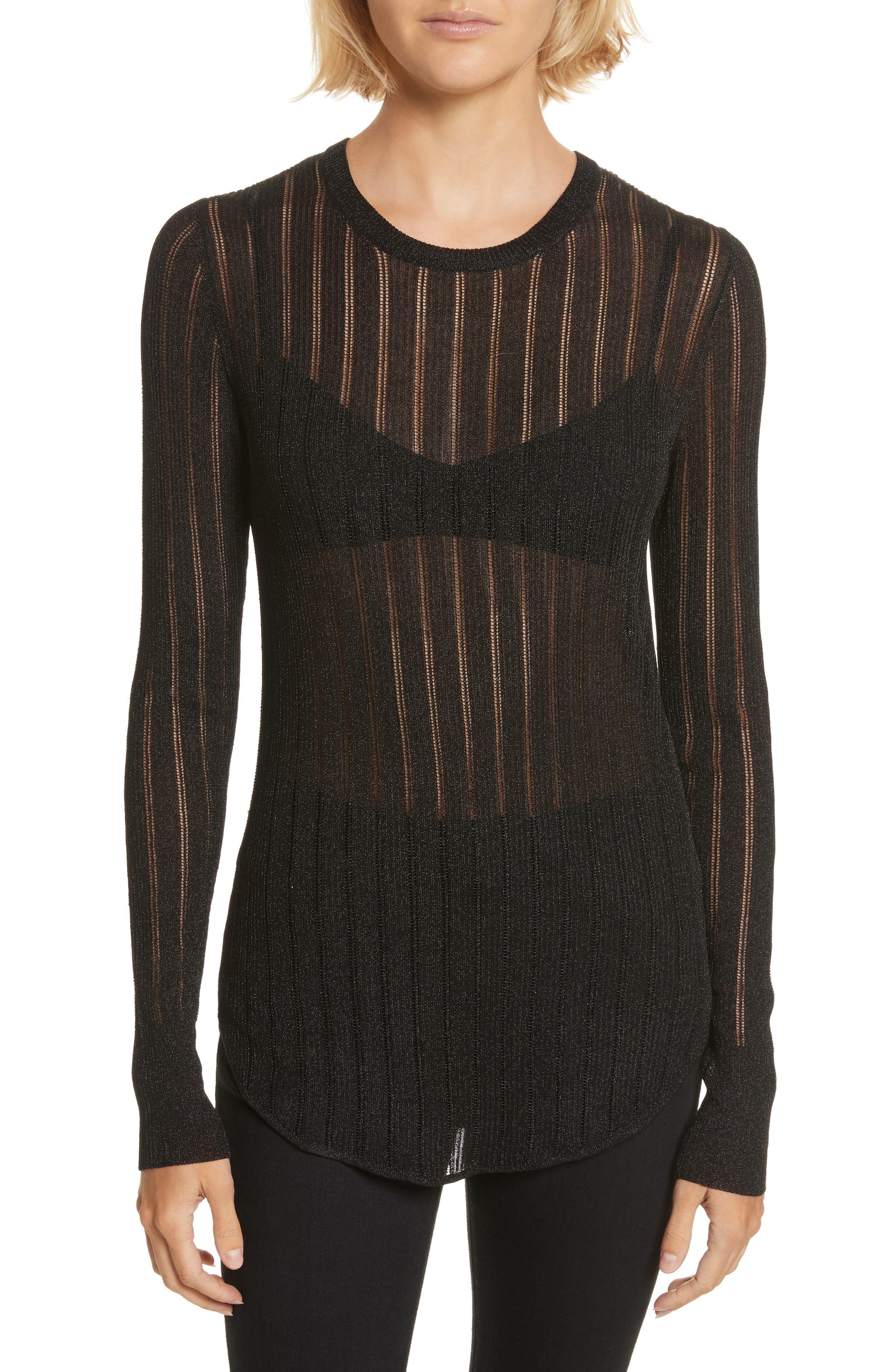 Skogkik Metallic Knit Top,                         Main,                         color, Black