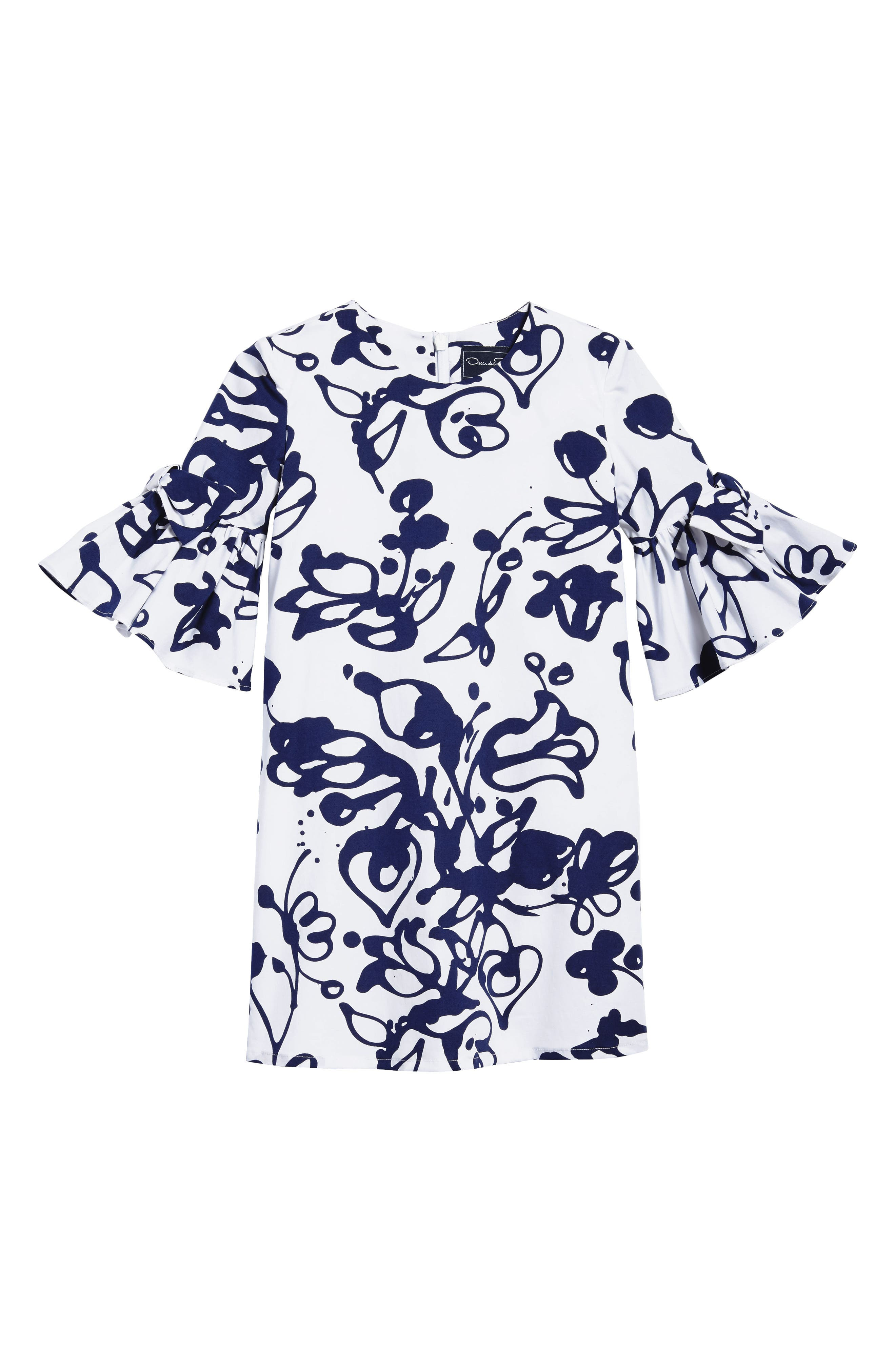 Scribbles Bell Sleeve Dress,                         Main,                         color, White/ Navy