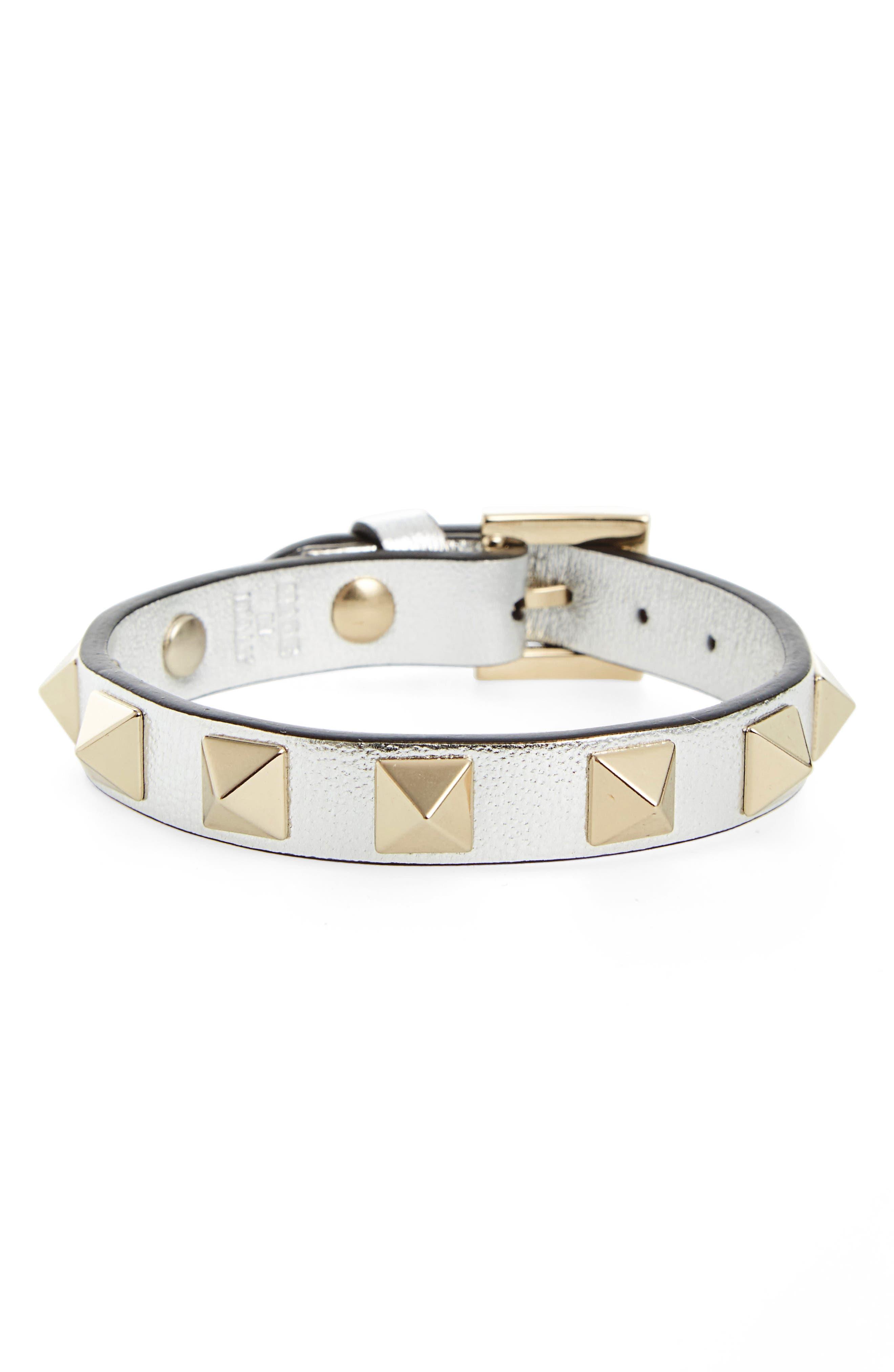 Main Image - Valentino Rockstud Leather Bracelet