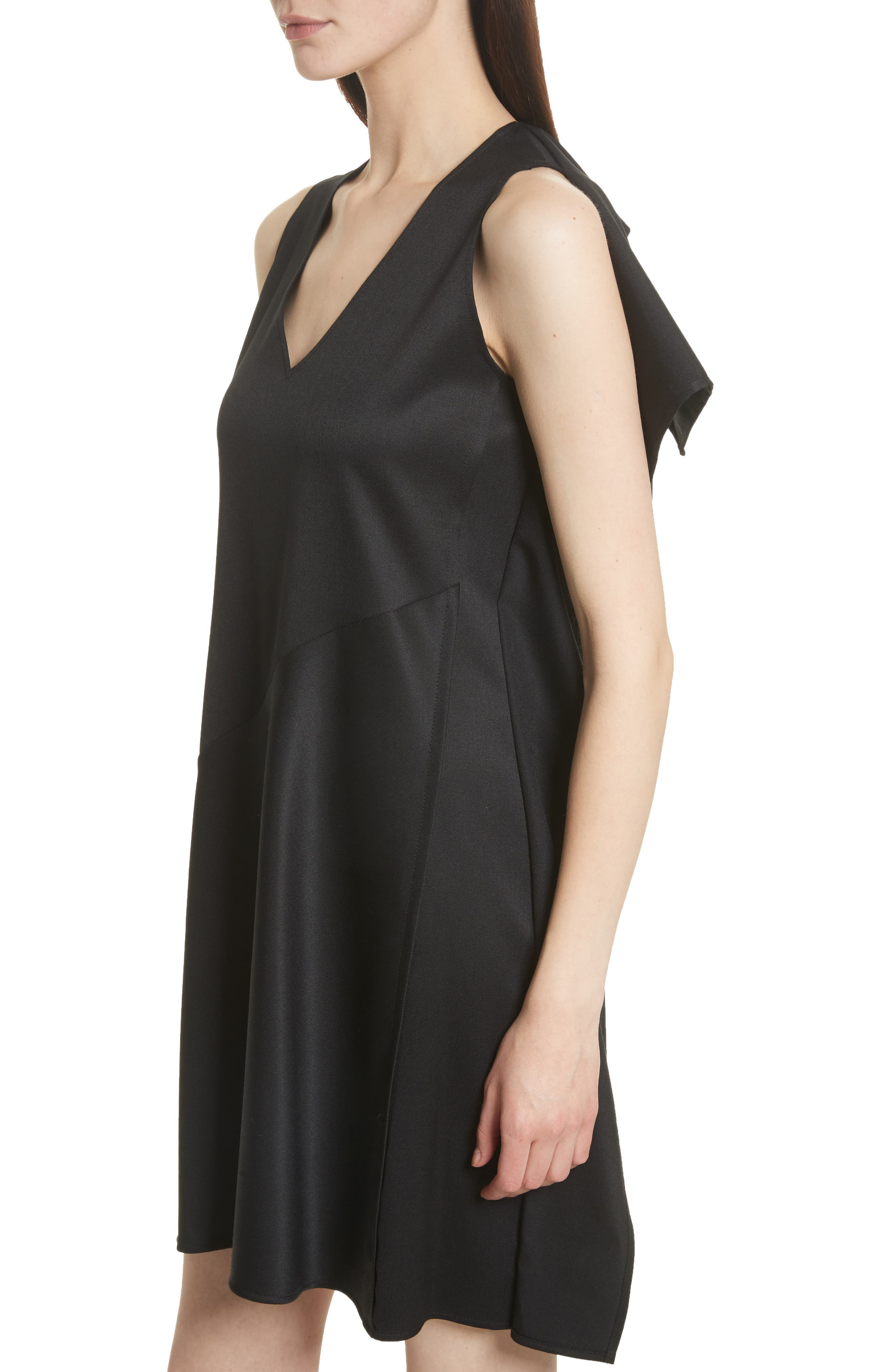 Ruffle Back Twill Dress,                             Alternate thumbnail 4, color,                             Black