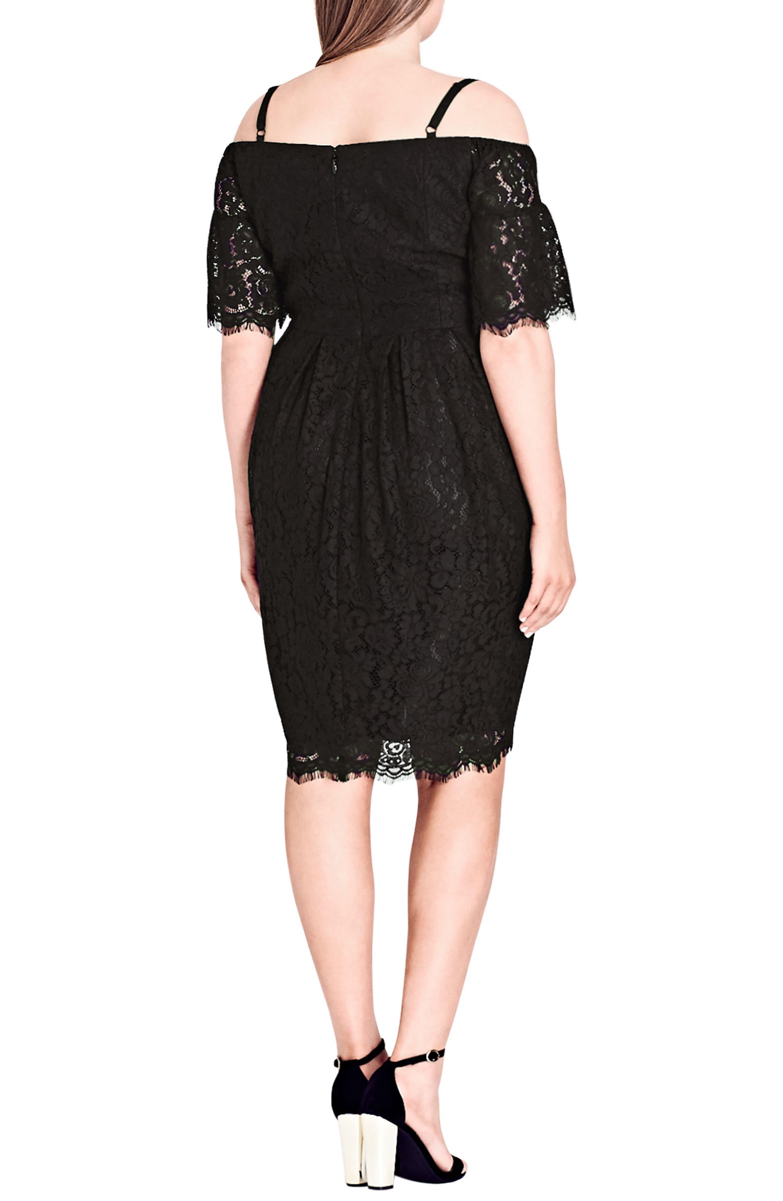 Amour Cold Shoulder Lace Sheath Dress,                             Alternate thumbnail 2, color,                             Black