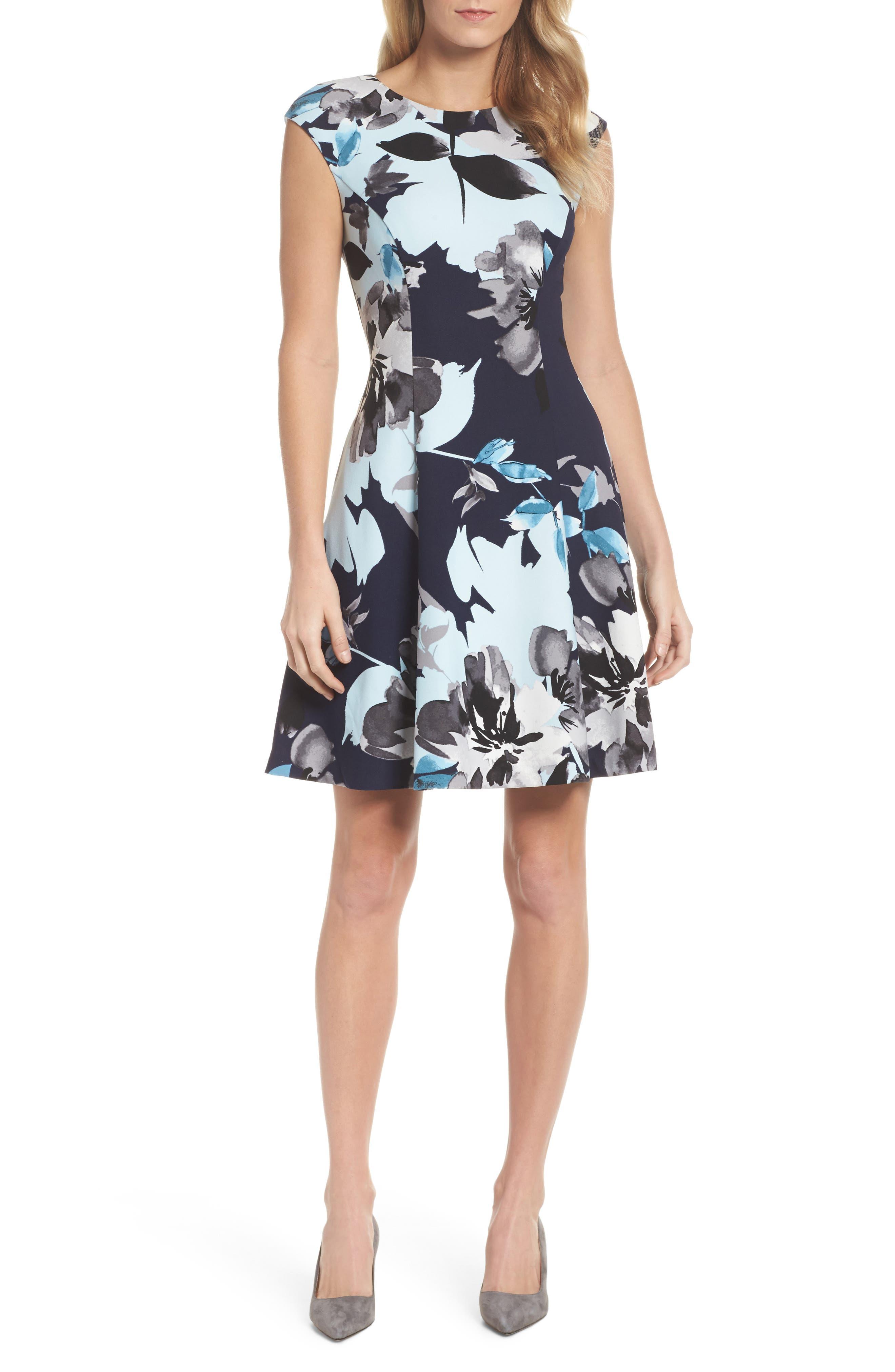 Fit & Flare Dress,                         Main,                         color, Blue Multi