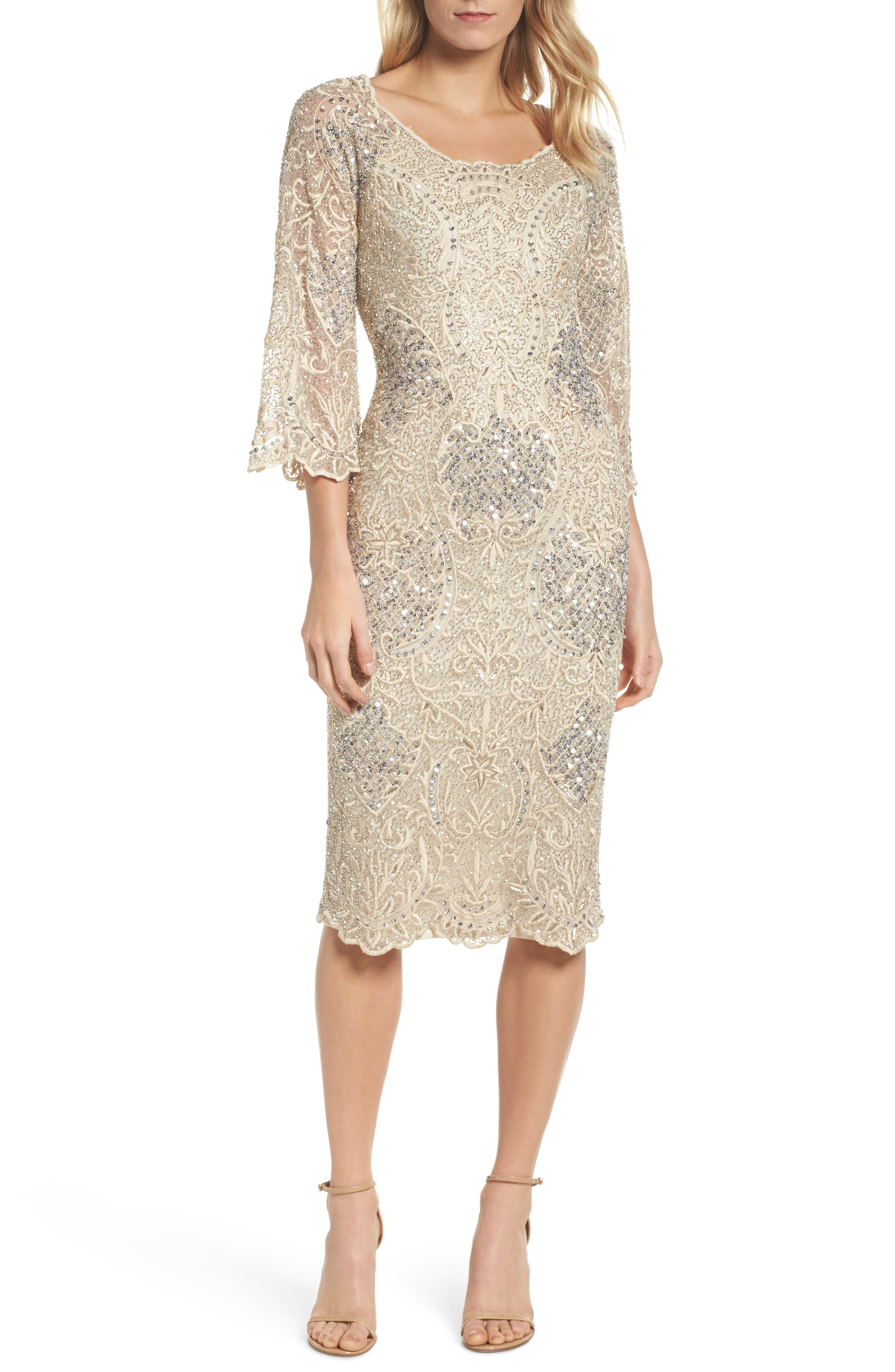Embroidered Scallop Edge Midi Sheath Dress,                         Main,                         color, Champagne