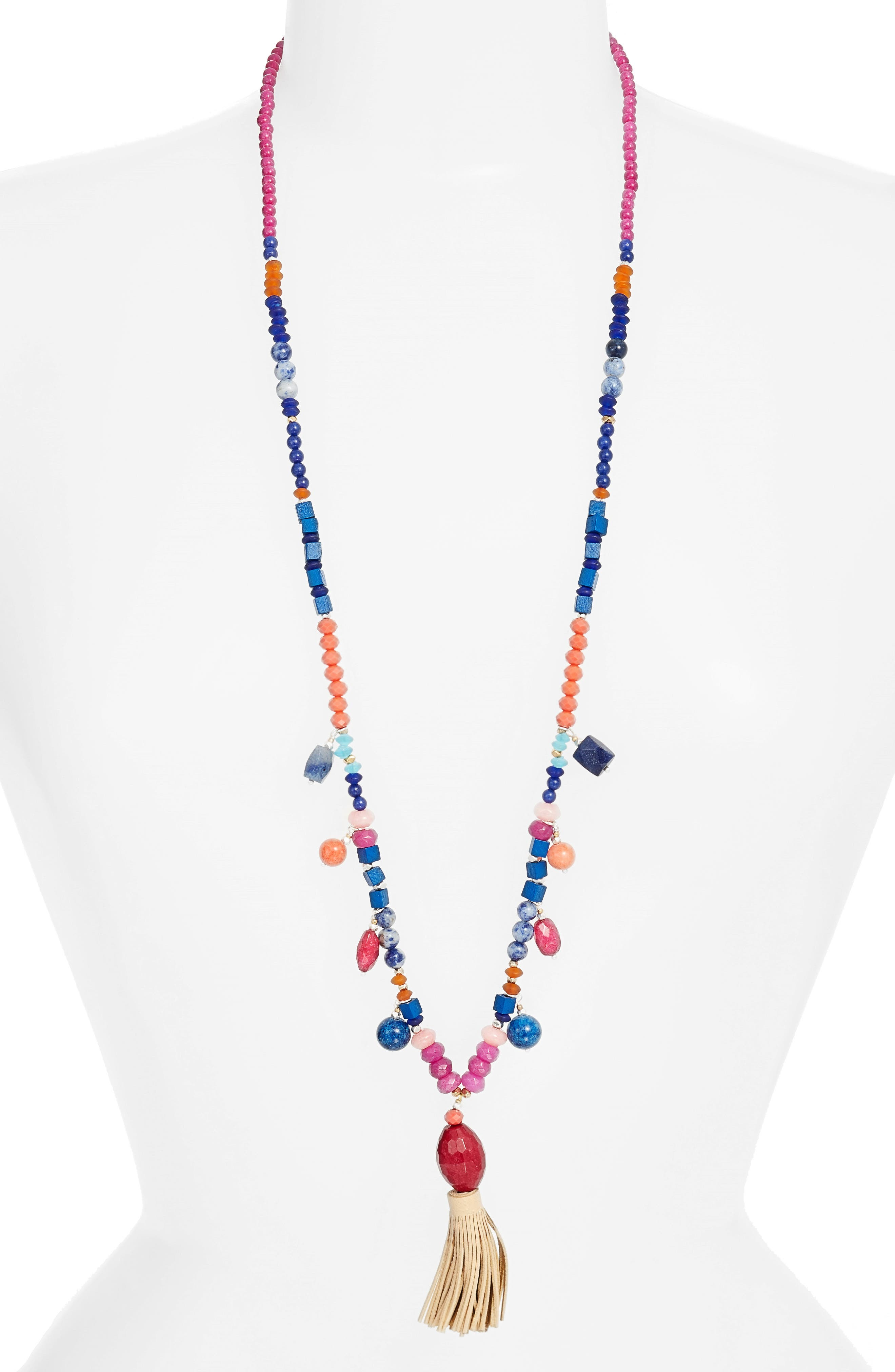 Beaded Tassel Necklace,                         Main,                         color, Multi