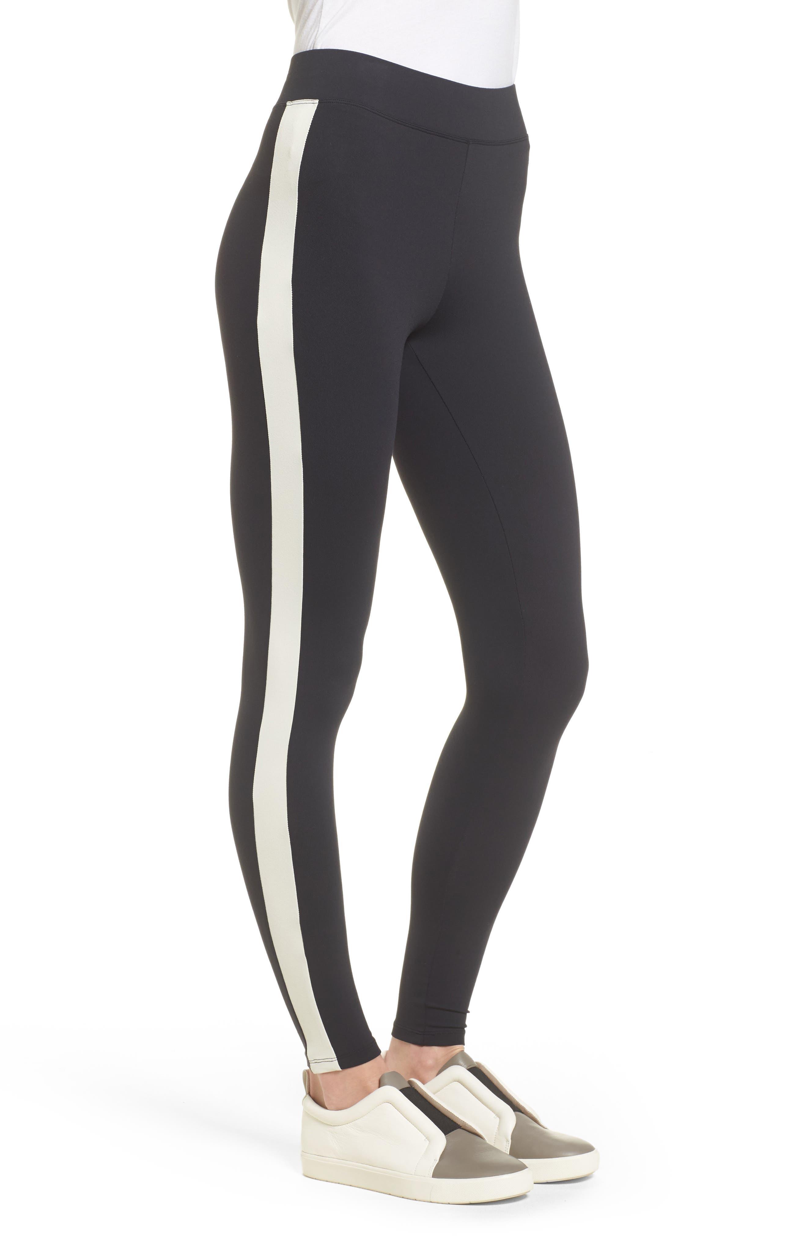Stripe High Waist Ankle Leggings,                             Alternate thumbnail 3, color,                             Black