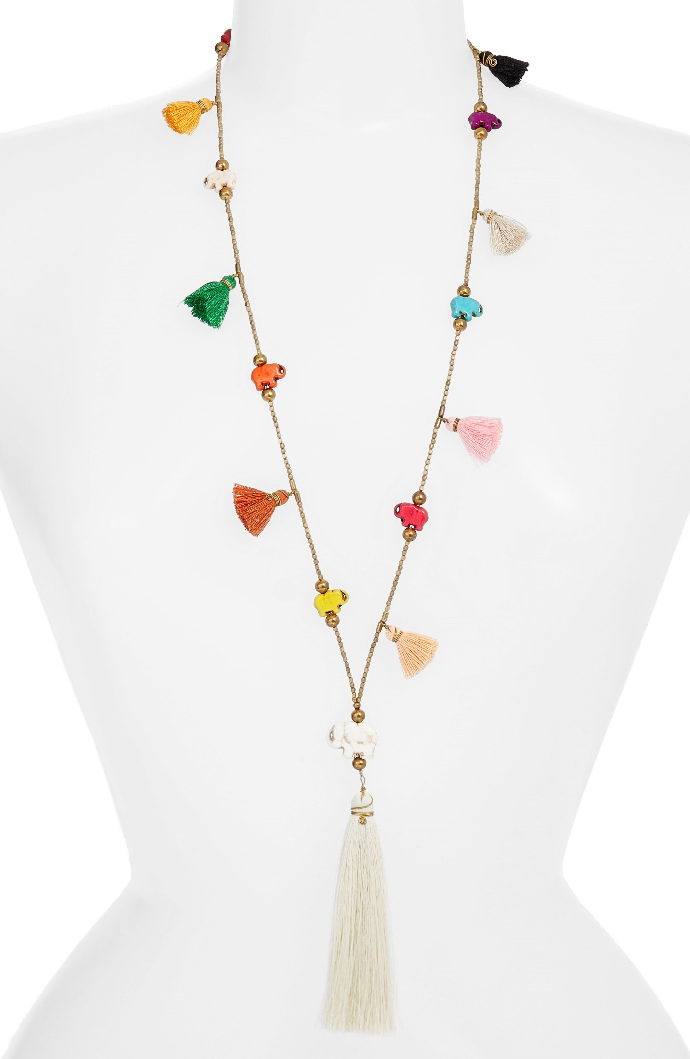 Tassel Necklace,                         Main,                         color, Multi