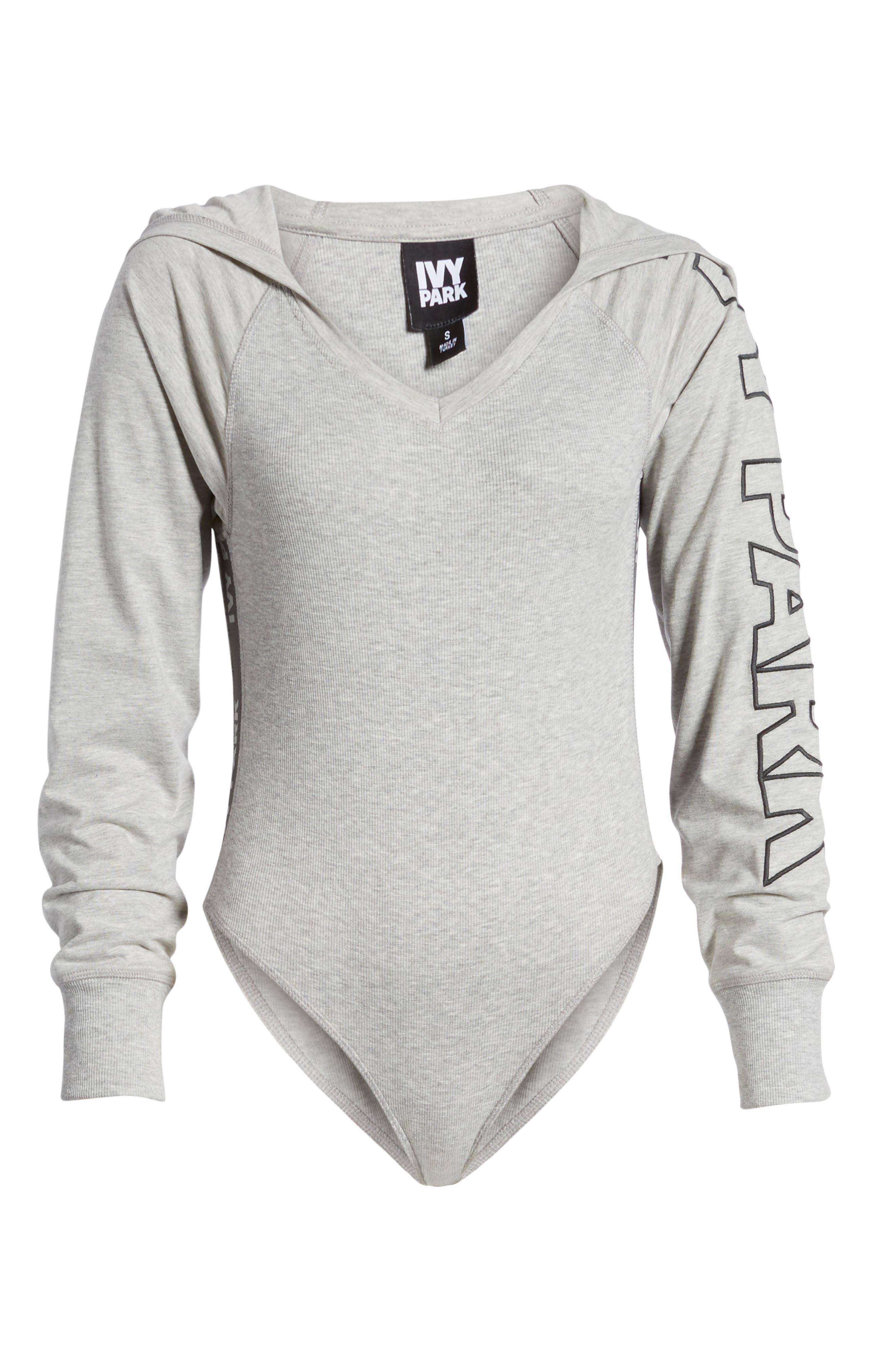 Hooded Bodysuit,                         Main,                         color, Grey Marl