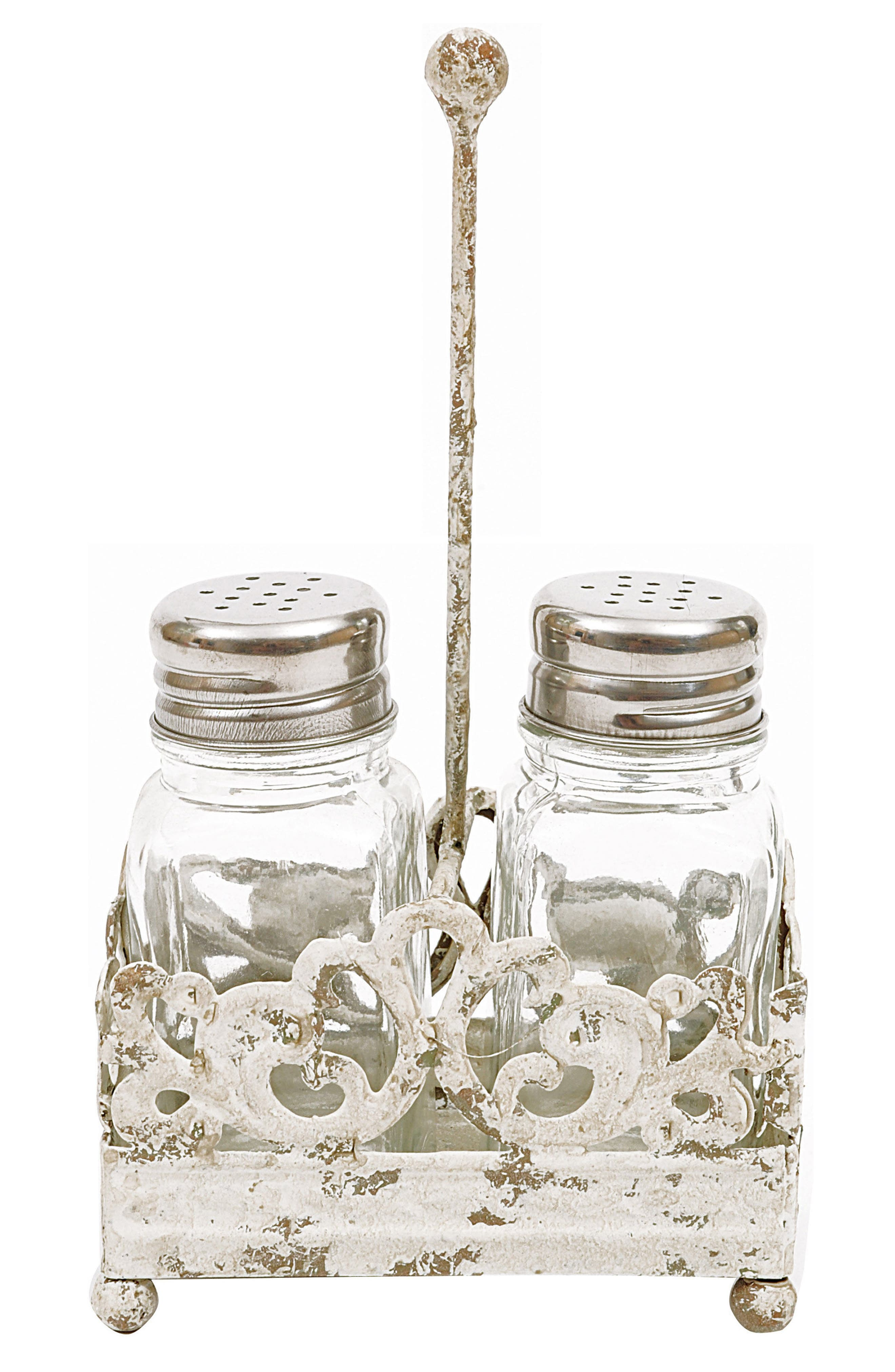 Salt & Pepper Shaker With Caddy,                         Main,                         color, White