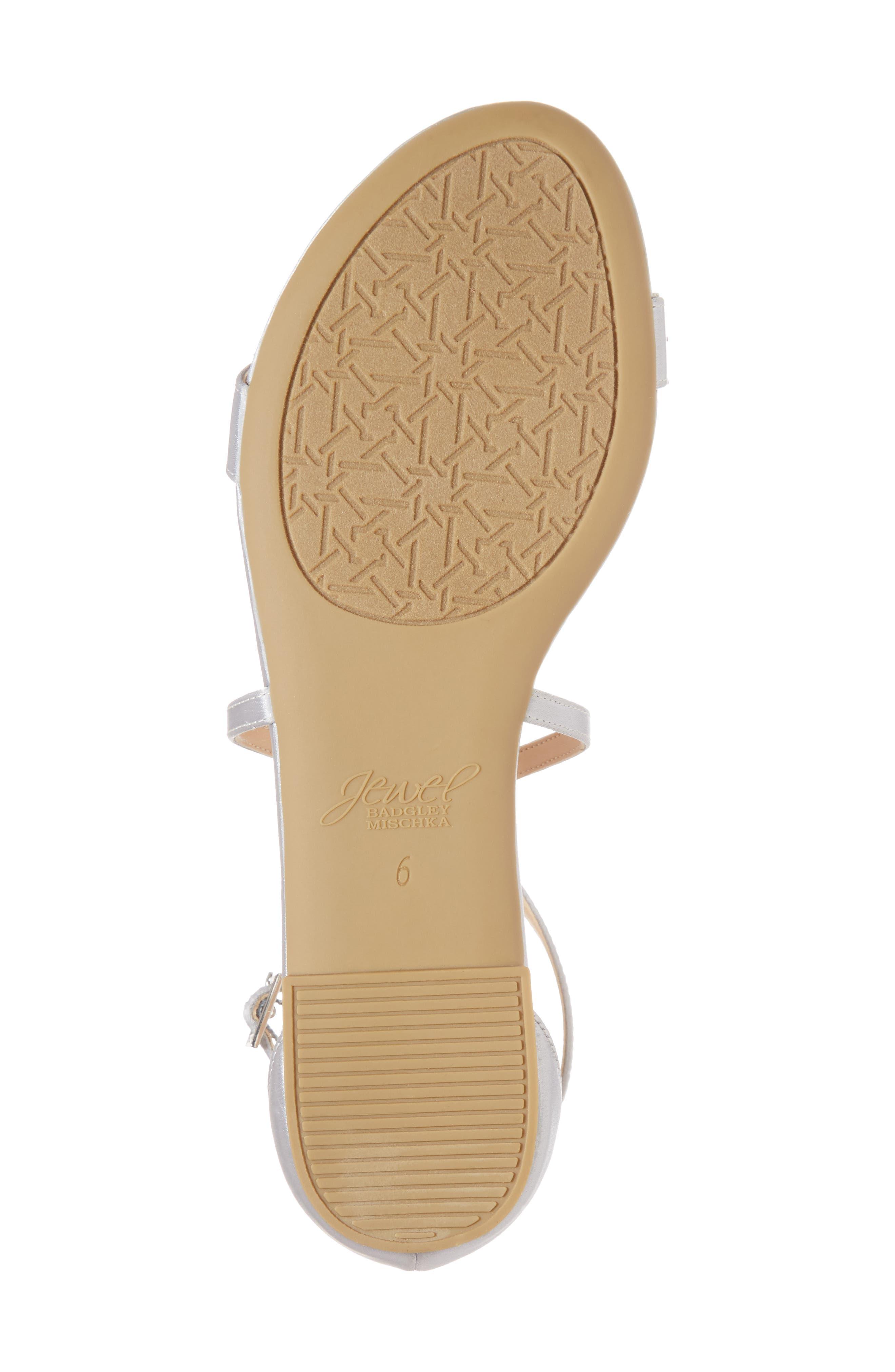 Tessy Embellished Sandal,                             Alternate thumbnail 6, color,                             Silver Satin