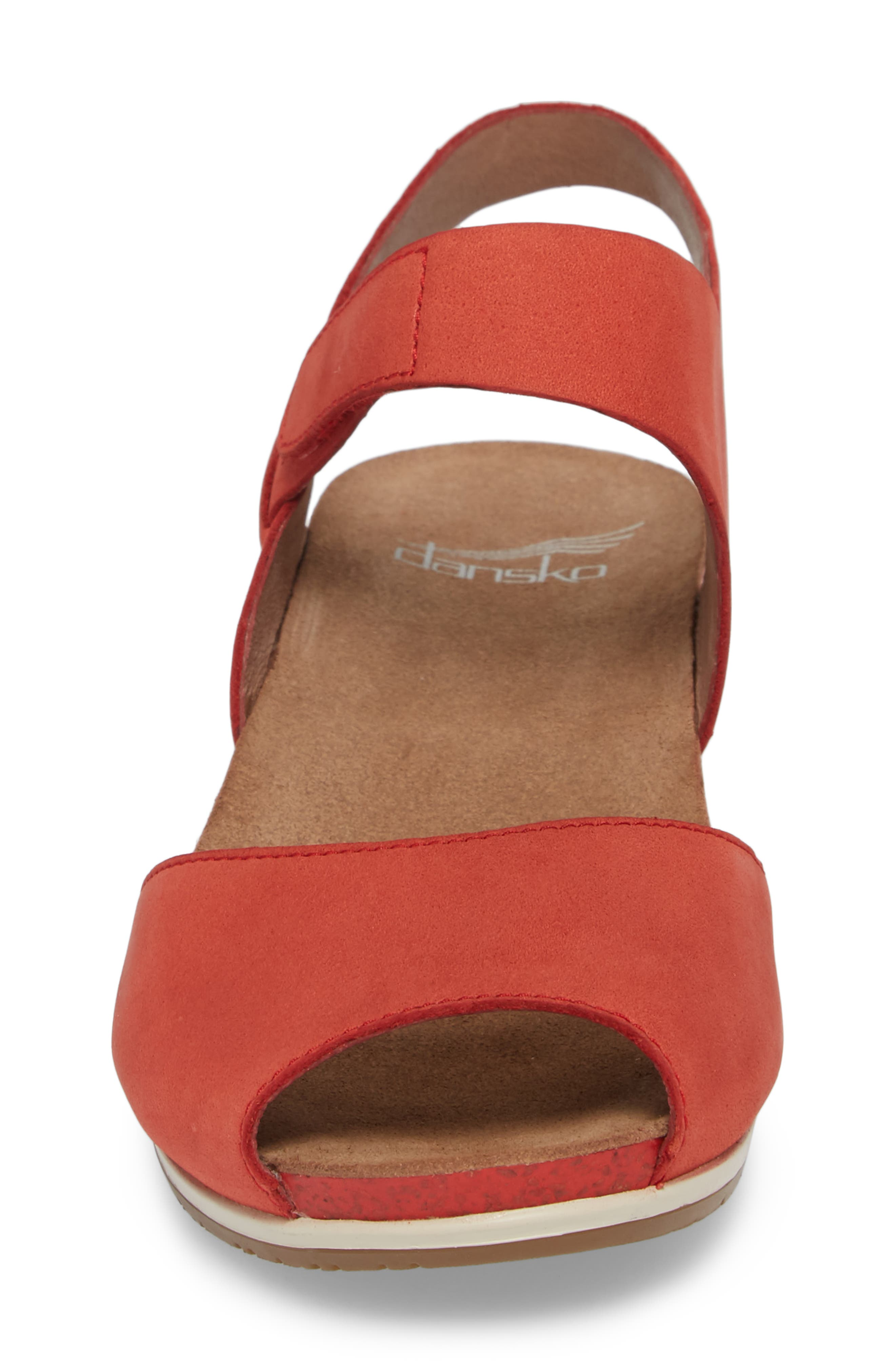 Vera Sandal,                             Alternate thumbnail 4, color,                             Tomato Milled Nubuck Leather