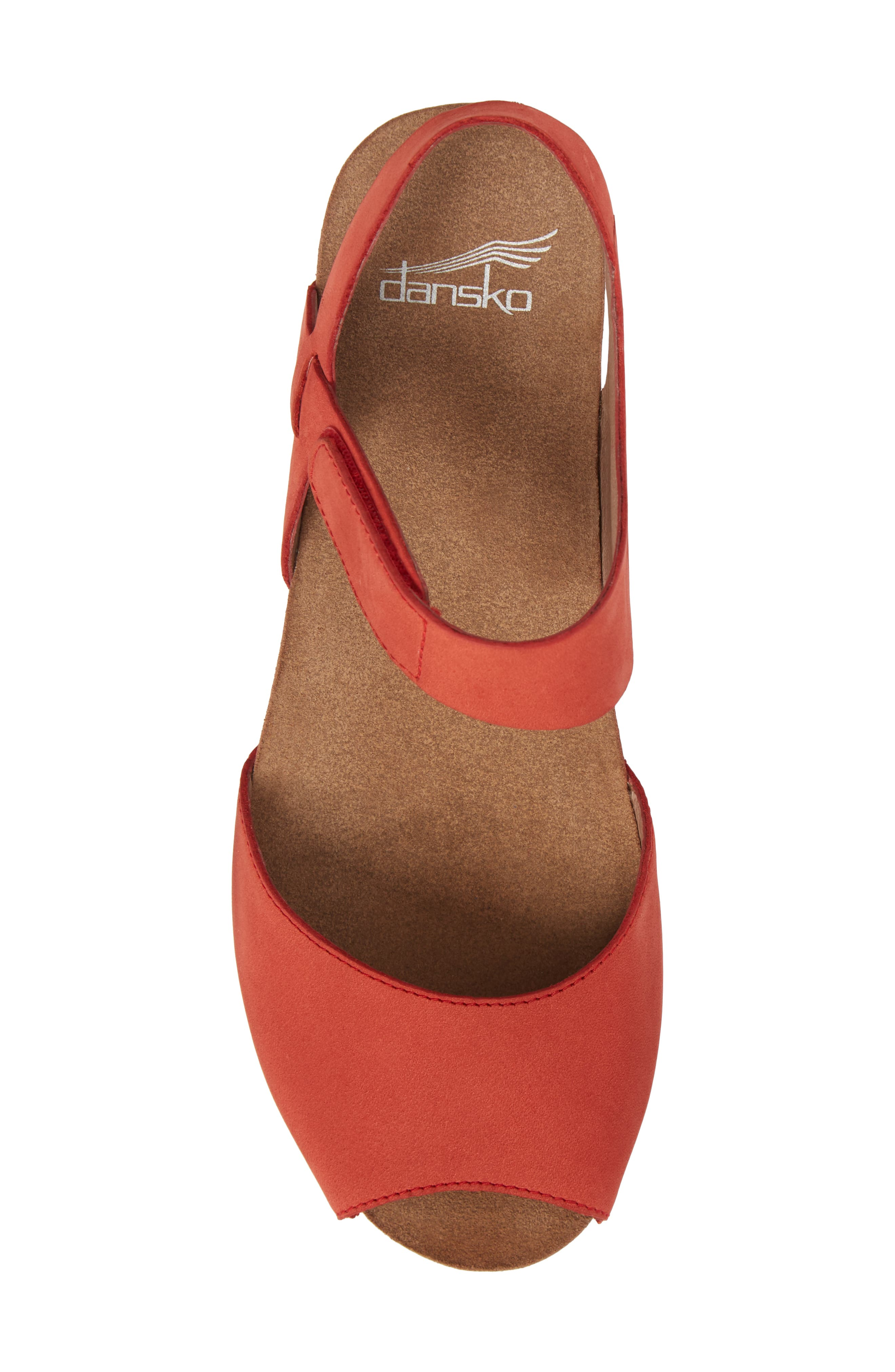 Vera Sandal,                             Alternate thumbnail 5, color,                             Tomato Milled Nubuck Leather
