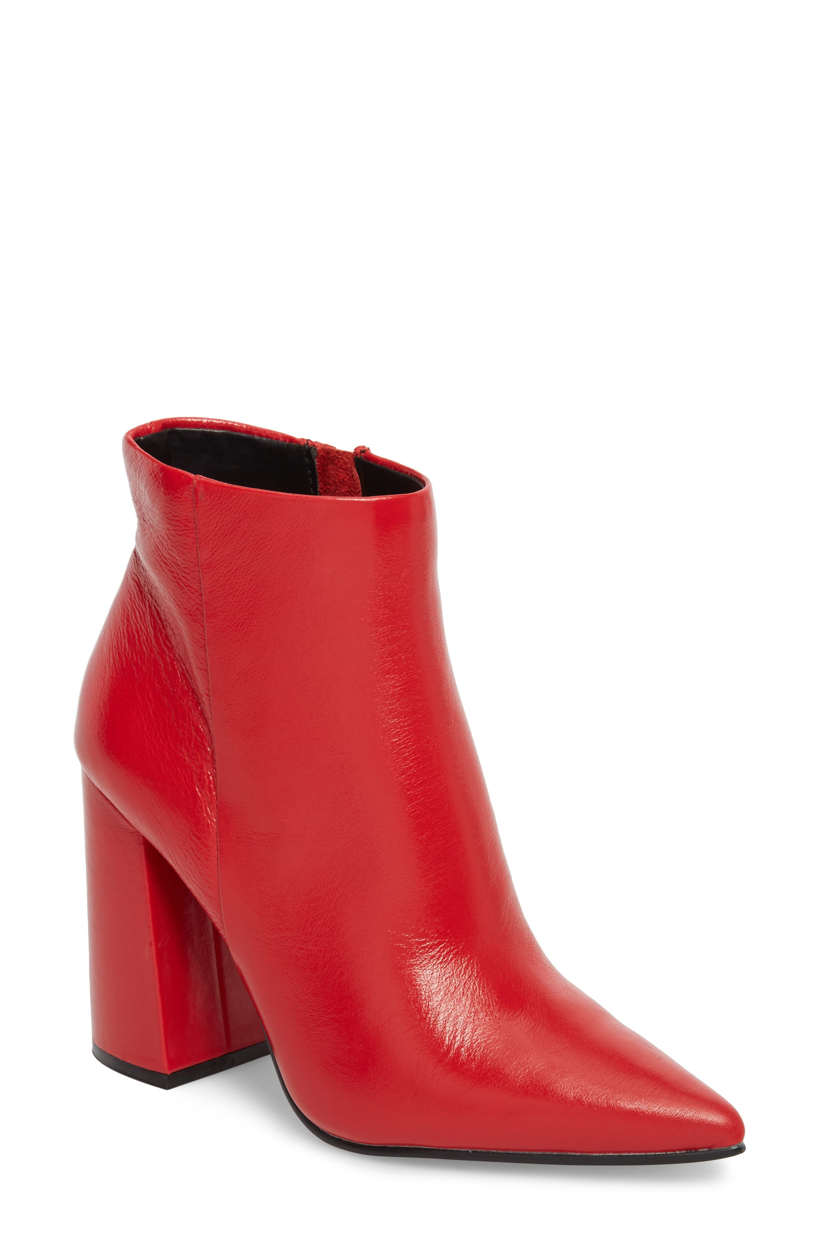 Justify Flared Heel Bootie,                             Main thumbnail 1, color,                             Red Leather