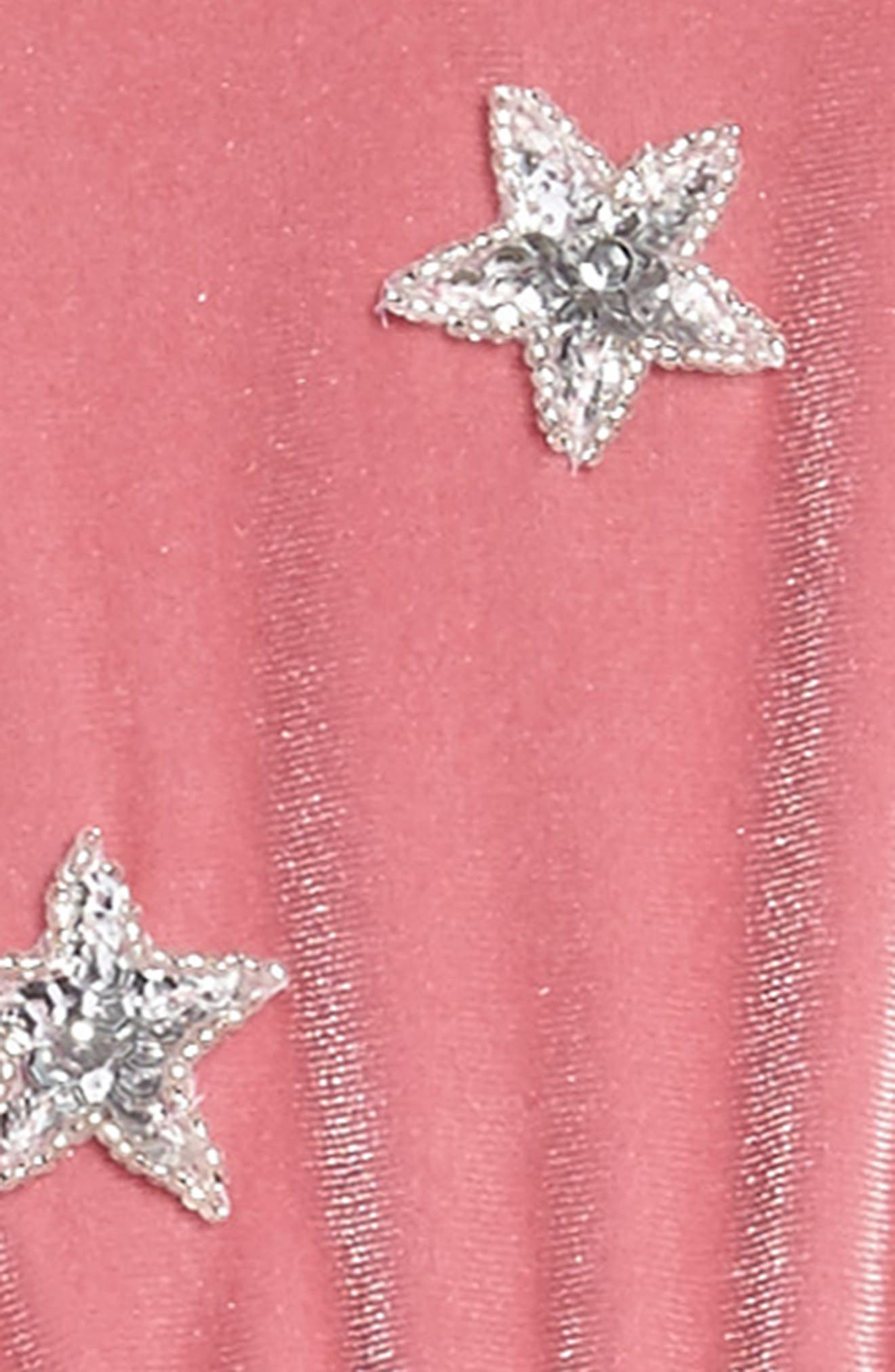 North Star Velvet Dress,                             Alternate thumbnail 3, color,                             Pomegranate