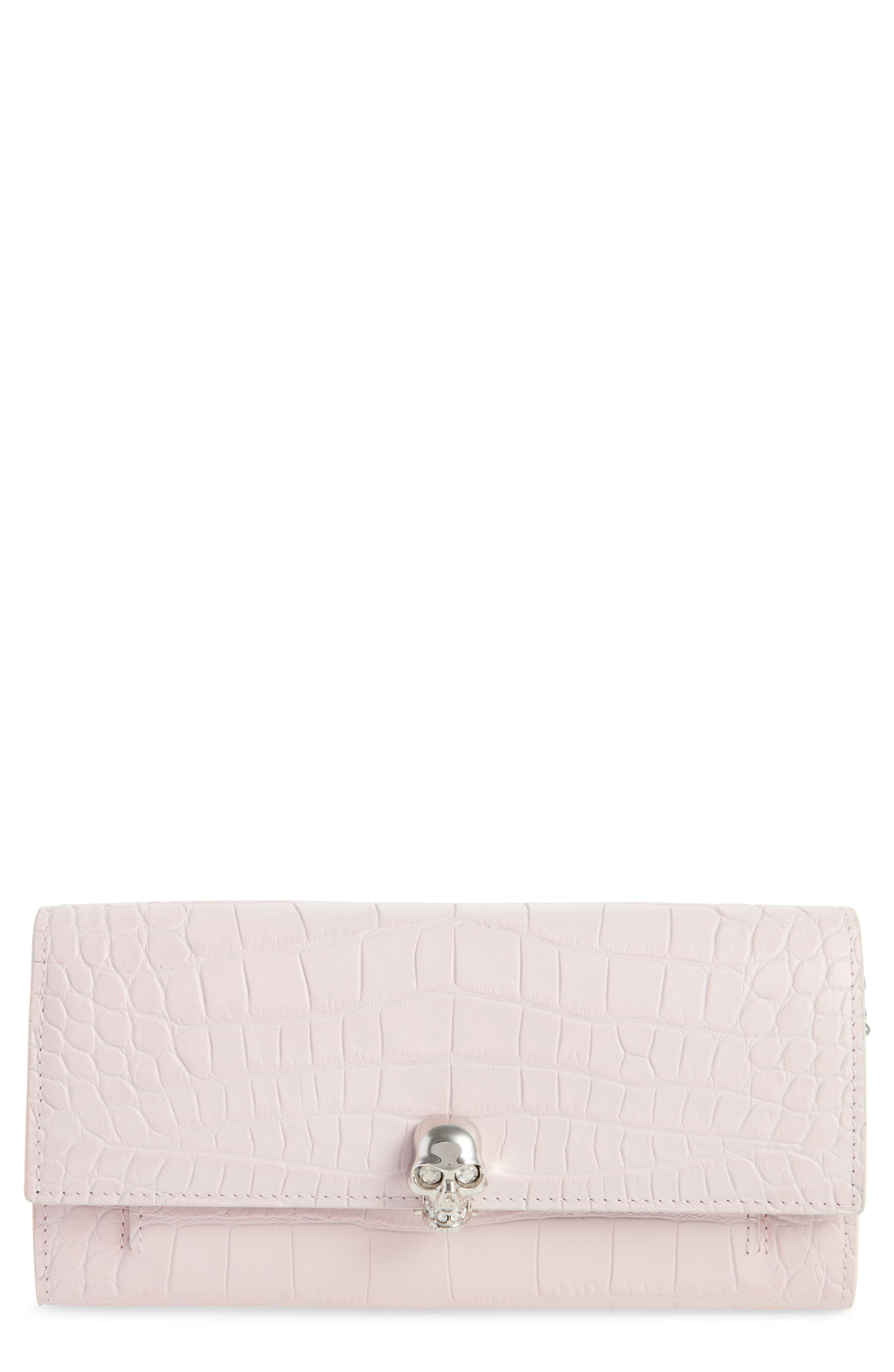 Skull Croc Embossed Leather Wallet on a Chain,                         Main,                         color, Baby Pink