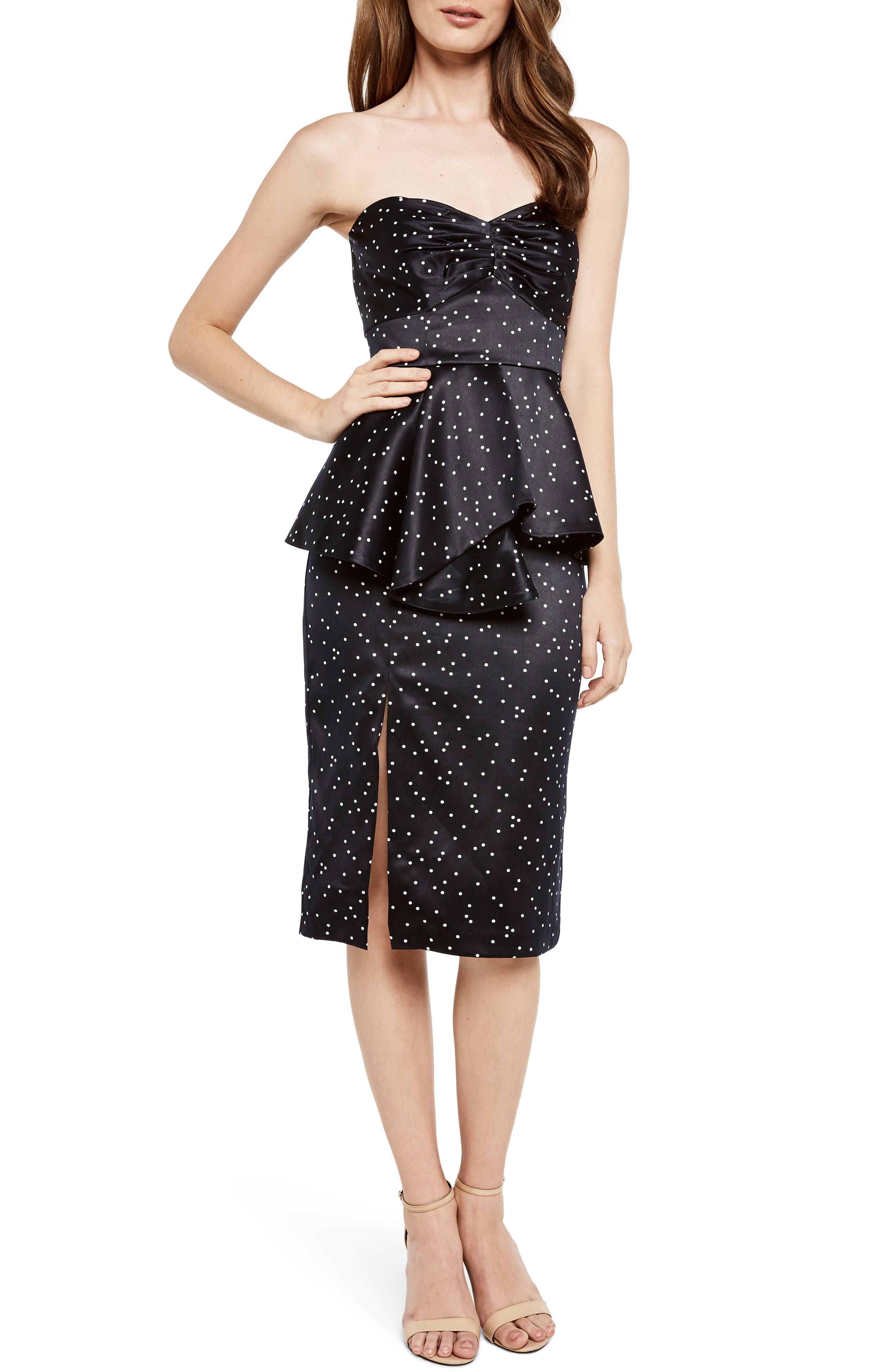 Spot Print Strapless Peplum Dress,                             Main thumbnail 1, color,                             Confetti- Navy