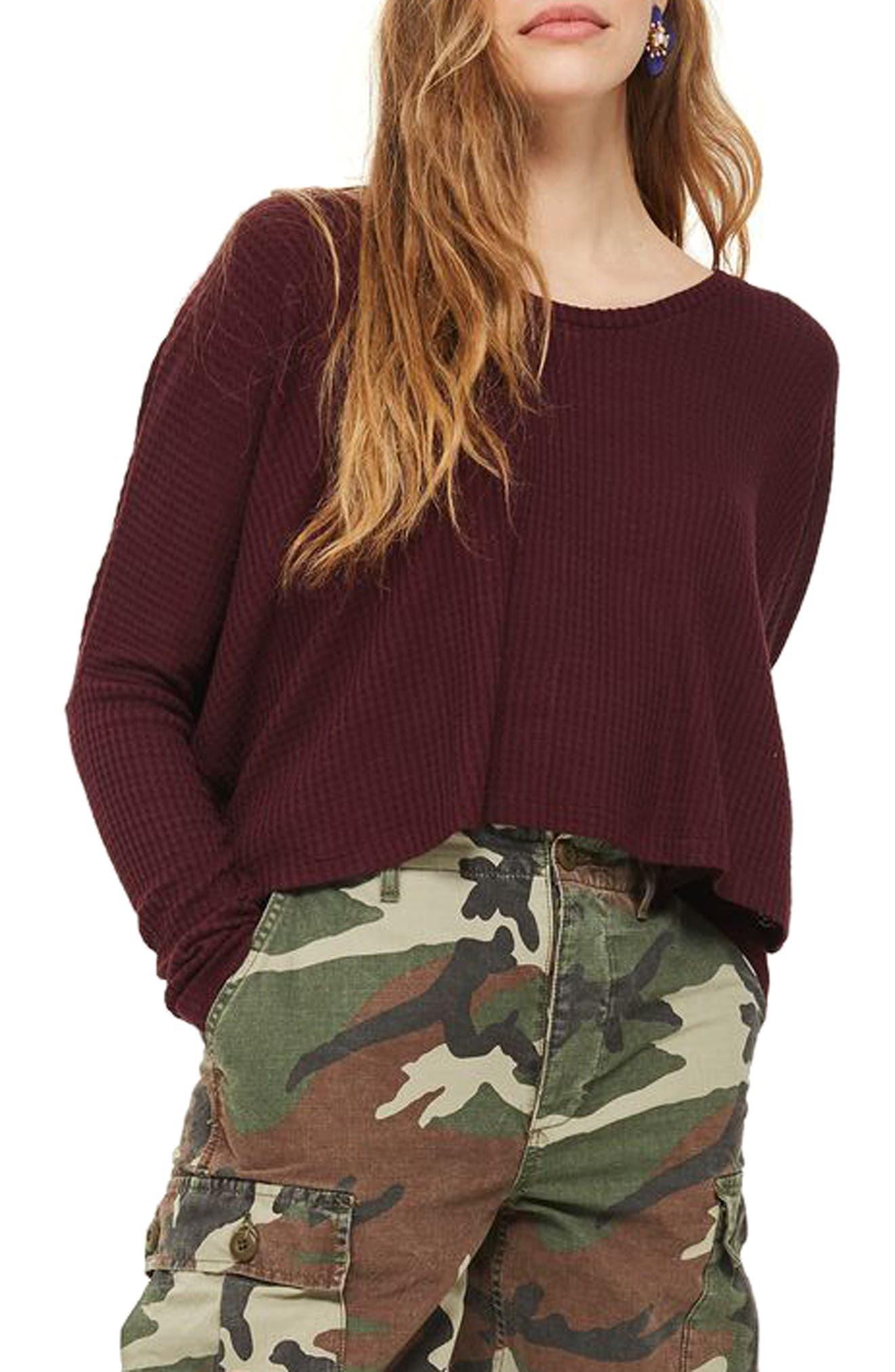 Main Image - Topshop Waffle Knit Sweatshirt