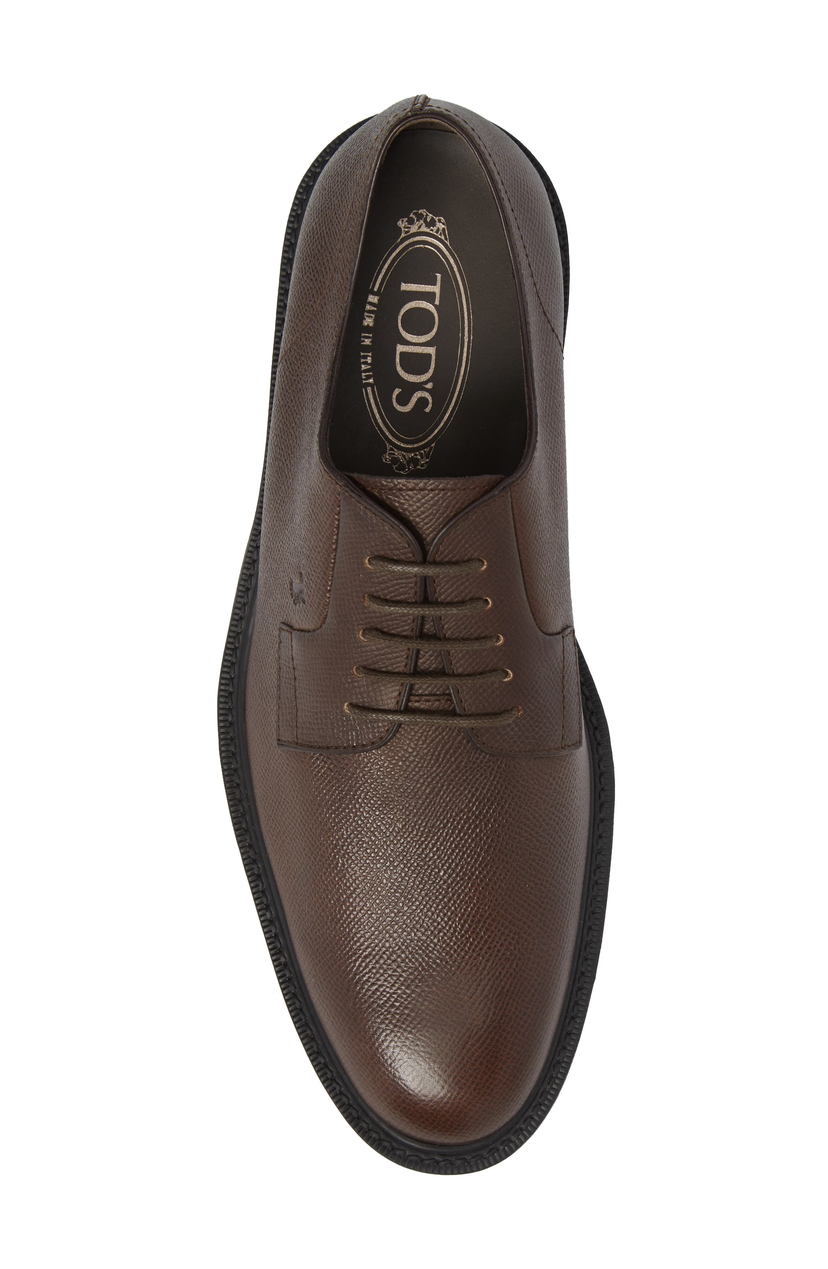 Clean Plain Toe Derby,                             Alternate thumbnail 5, color,                             Brown Textured Leather