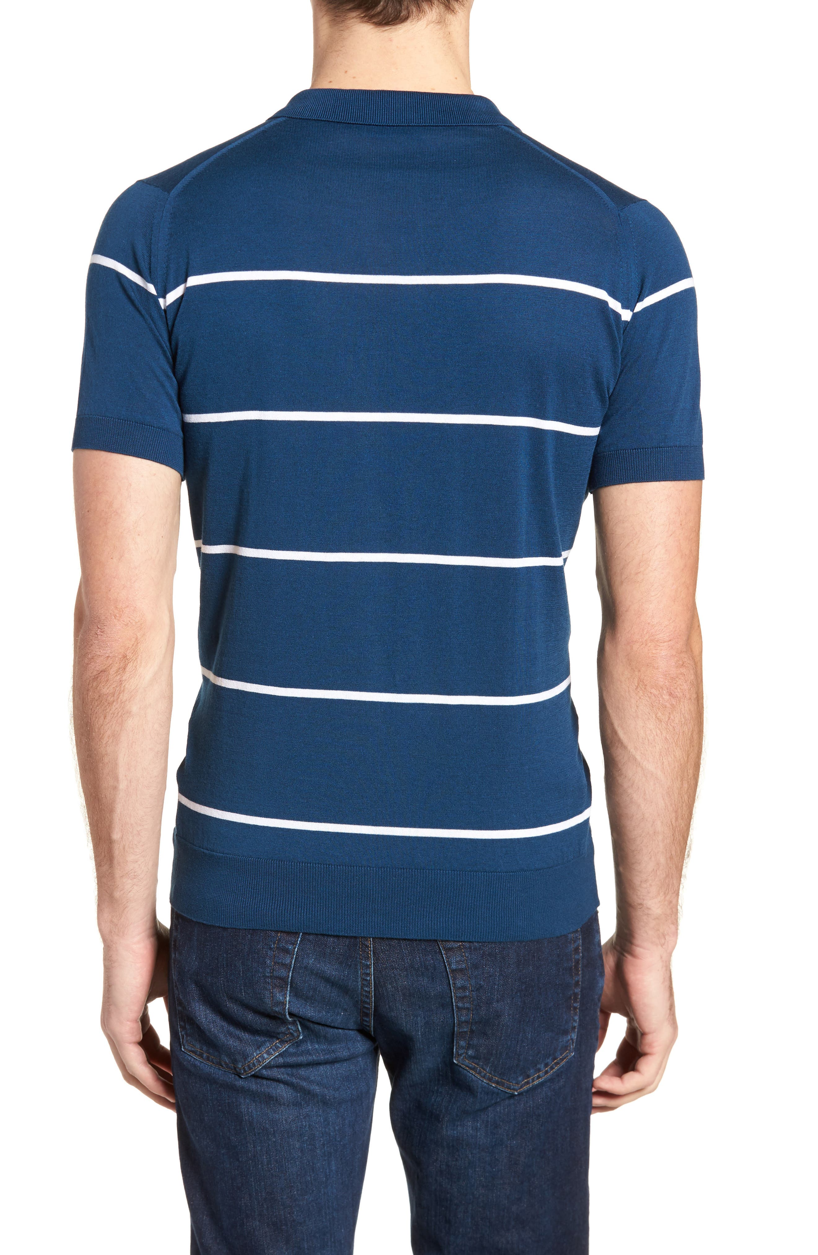 Alternate Image 2  - John Smedley Stripe Jersey Polo