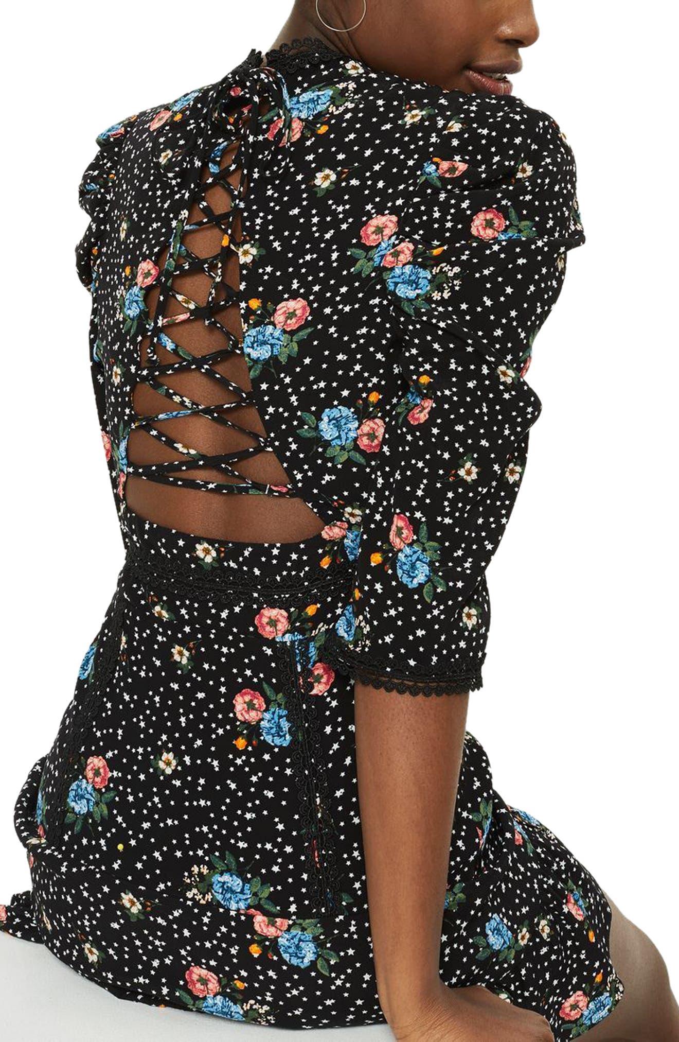 Lace-Up Back Floral Dress,                             Alternate thumbnail 2, color,                             Black Multi