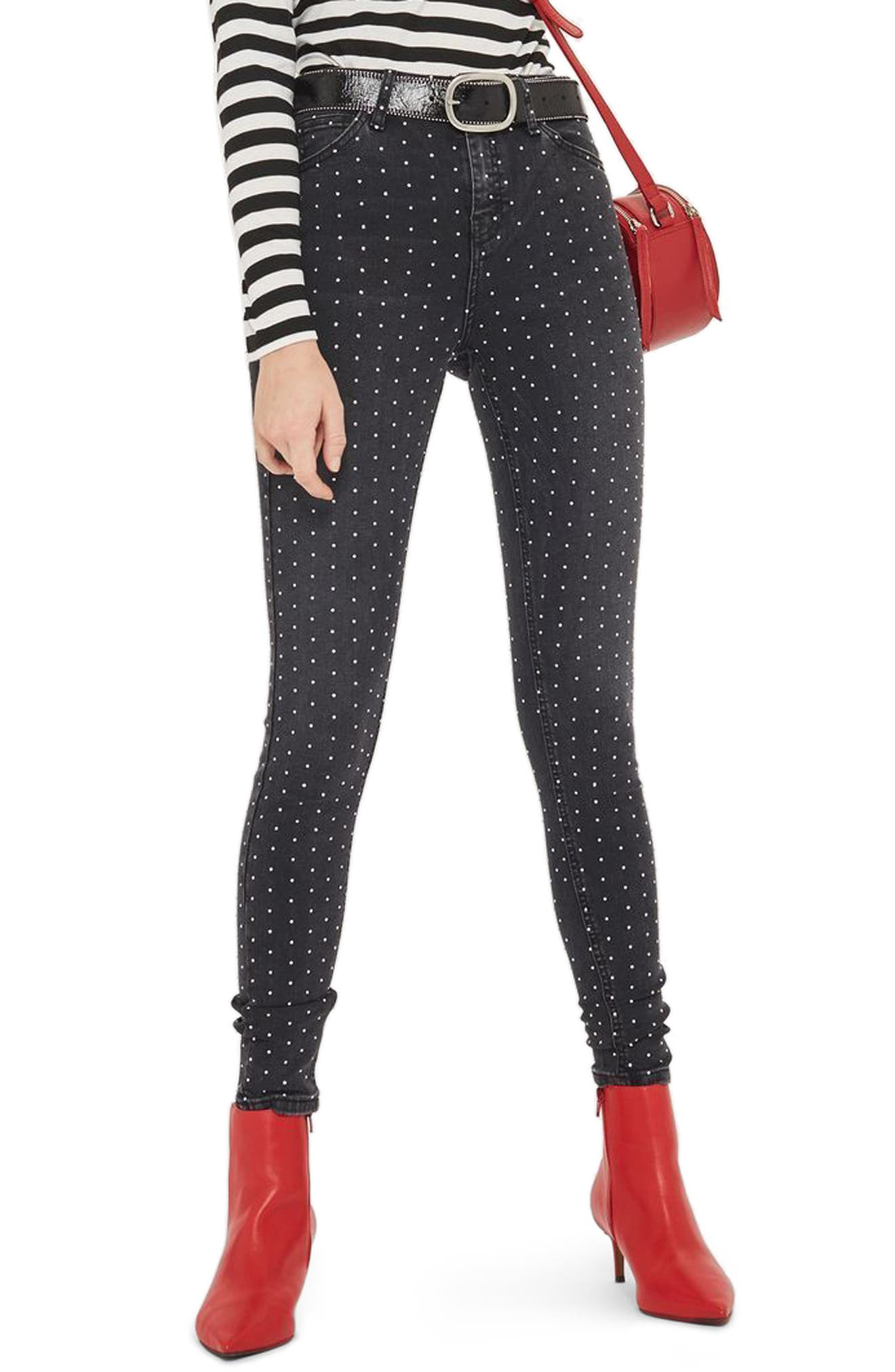 Jamie Diamante Skinny Jeans,                         Main,                         color, Washed Black