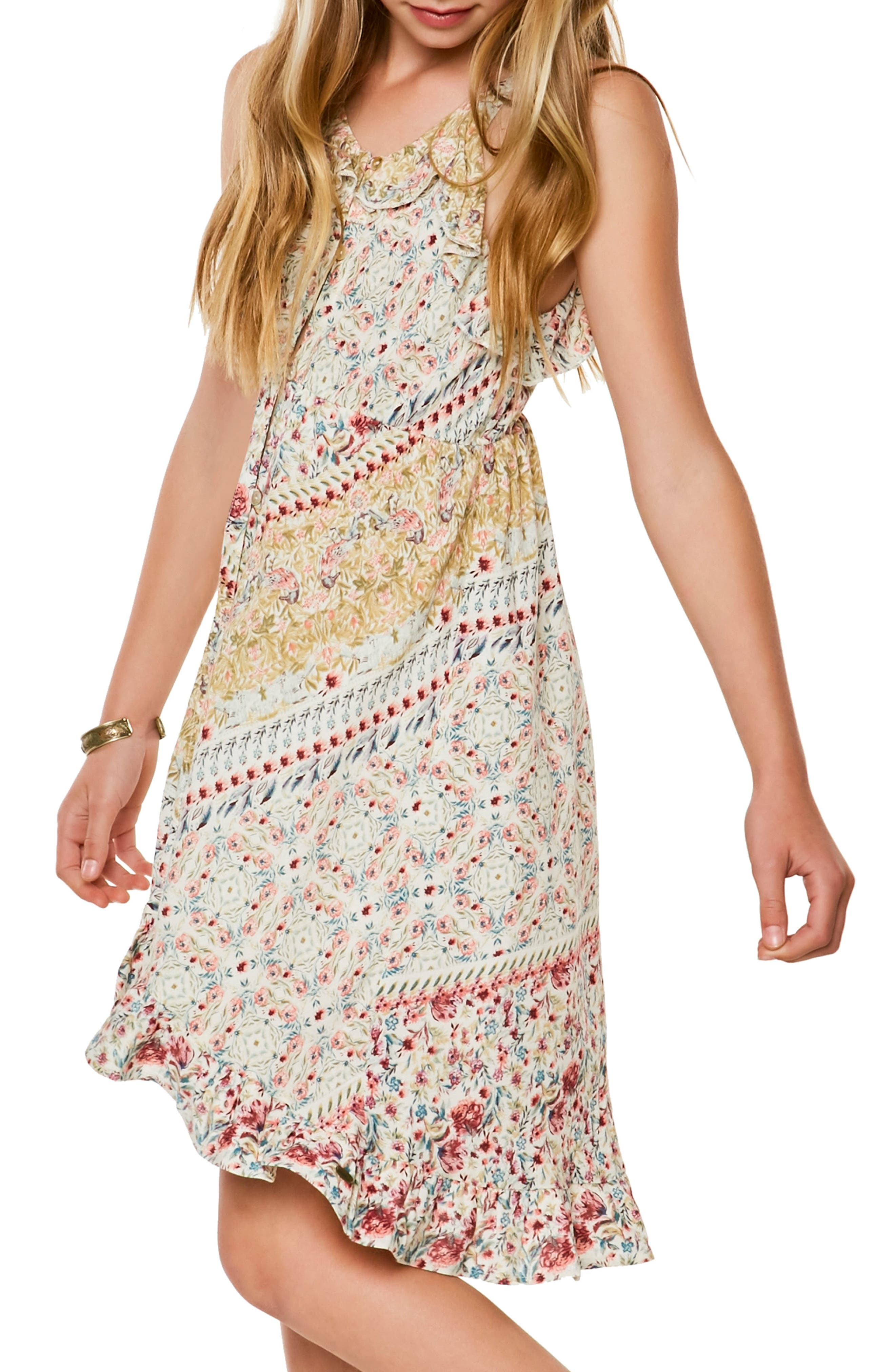 Brooklyn Mixed Print Sundress,                             Alternate thumbnail 4, color,                             Naked - Wwh