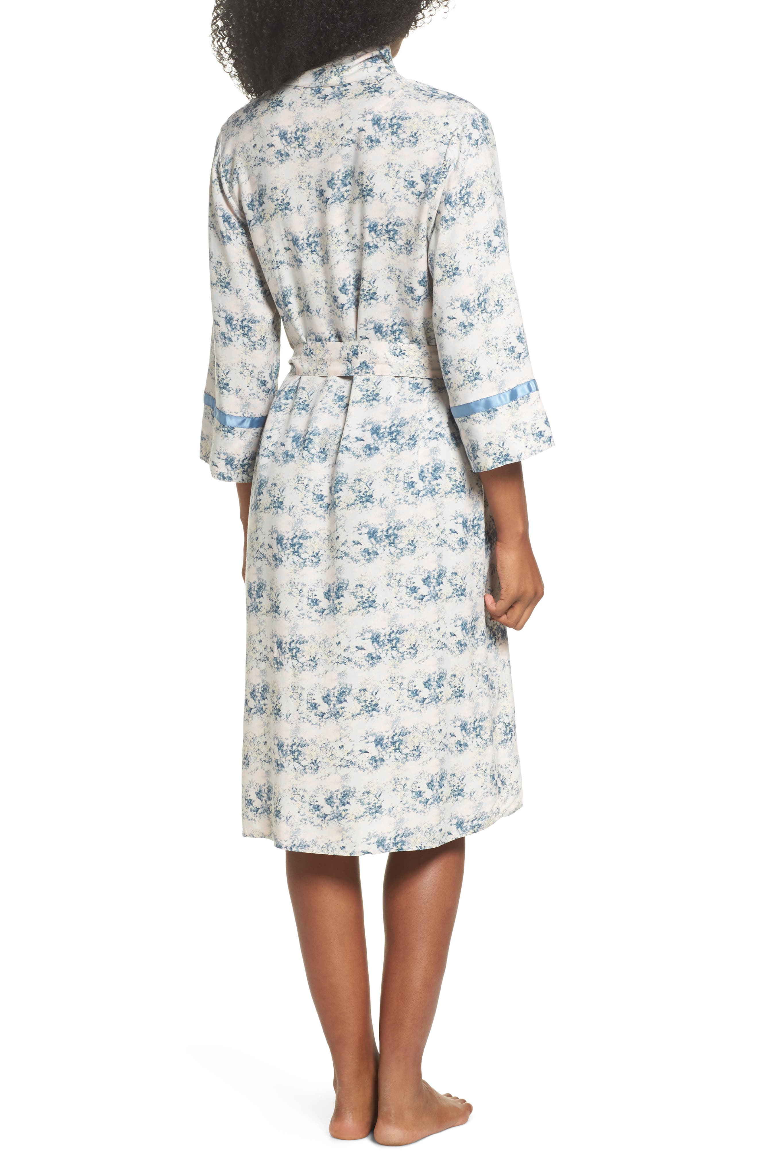 Floral Print Robe,                             Alternate thumbnail 2, color,                             Blue