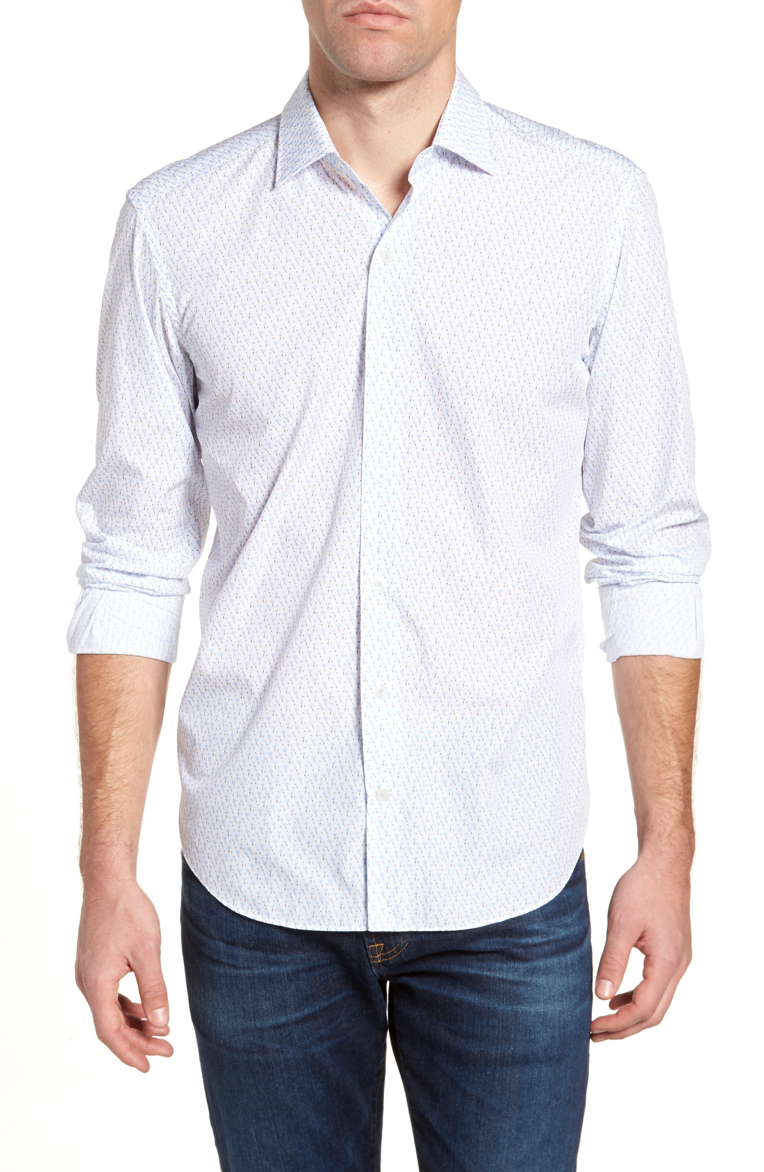 Tailored Fit Flamingo Print Sport Shirt,                             Main thumbnail 1, color,                             White
