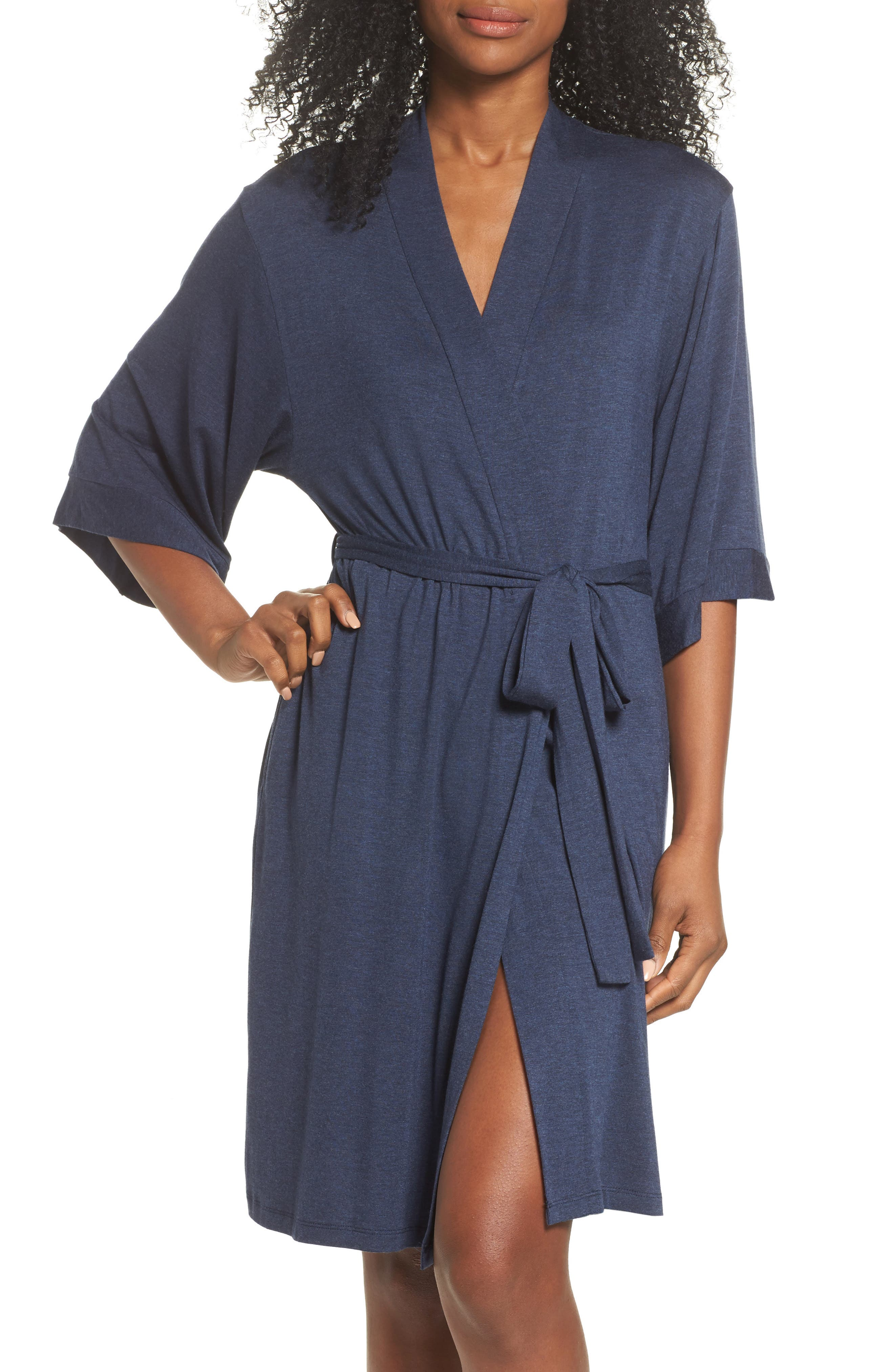 Jersey Robe,                         Main,                         color, Navy