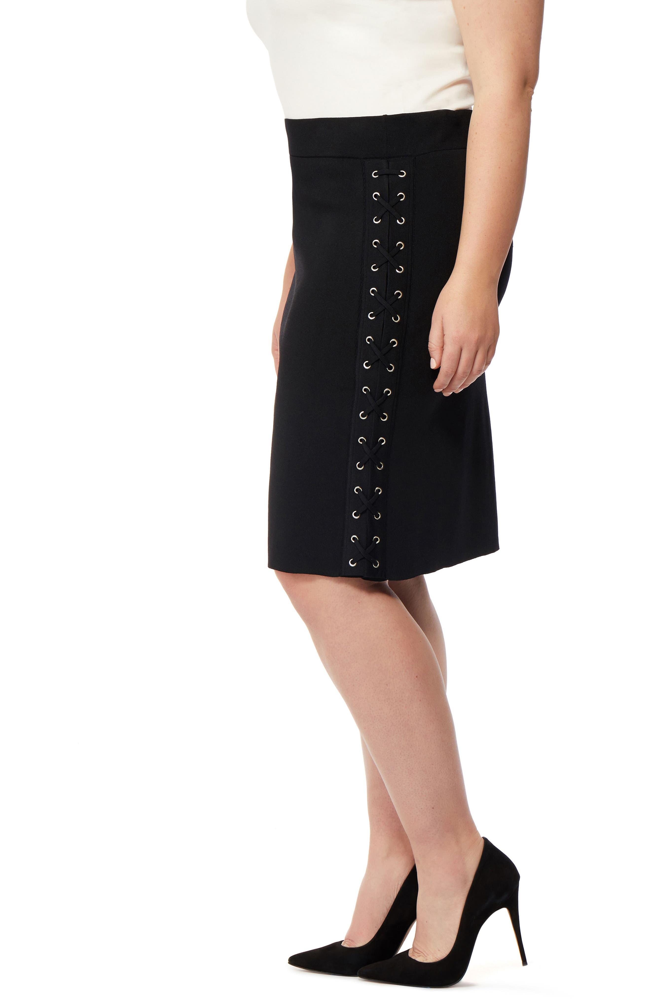 Lace-Up Skirt,                             Alternate thumbnail 3, color,                             Black