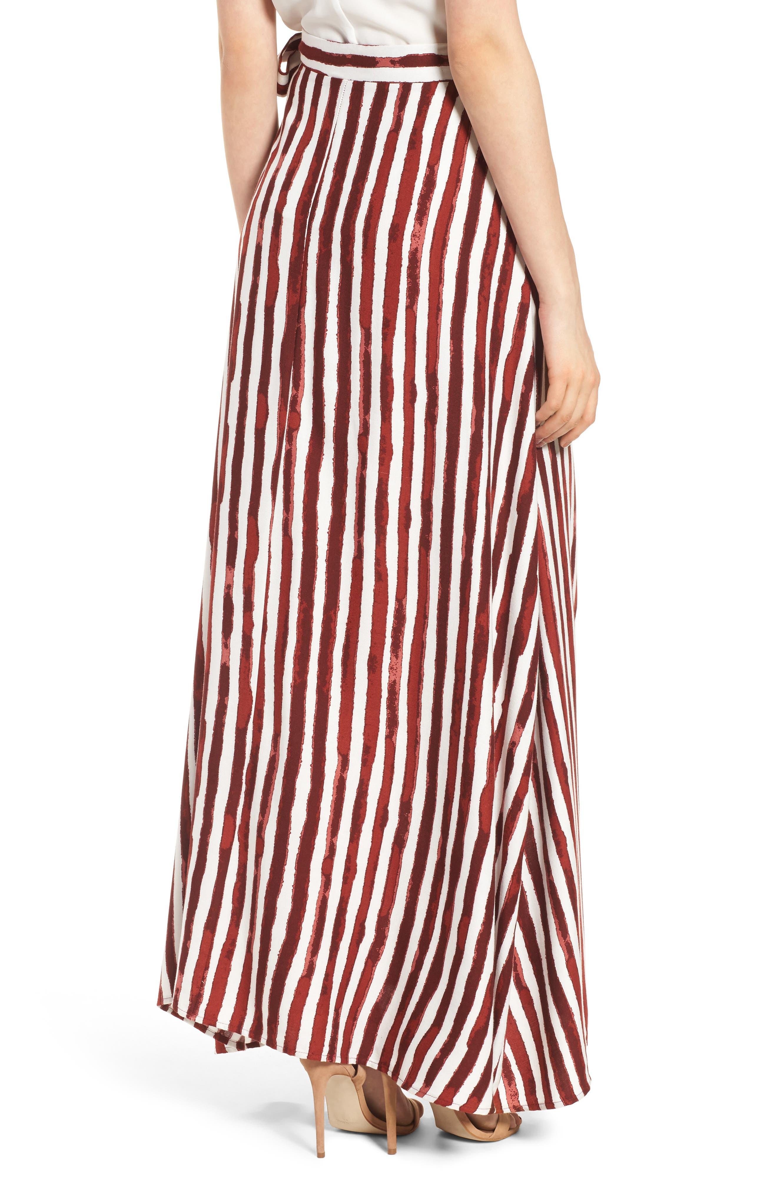 Maxi Skirt,                             Alternate thumbnail 4, color,                             Burgundy/ Ivory