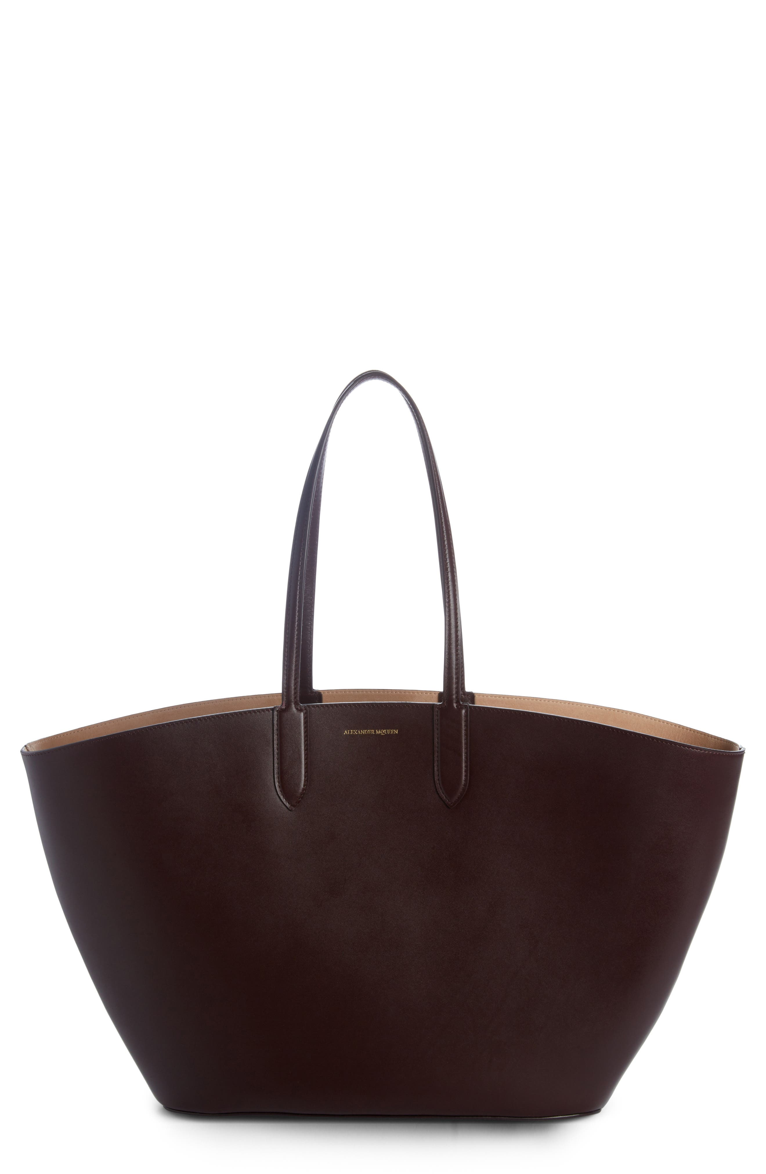 East/West Calfskin Leather Tote,                         Main,                         color, Black
