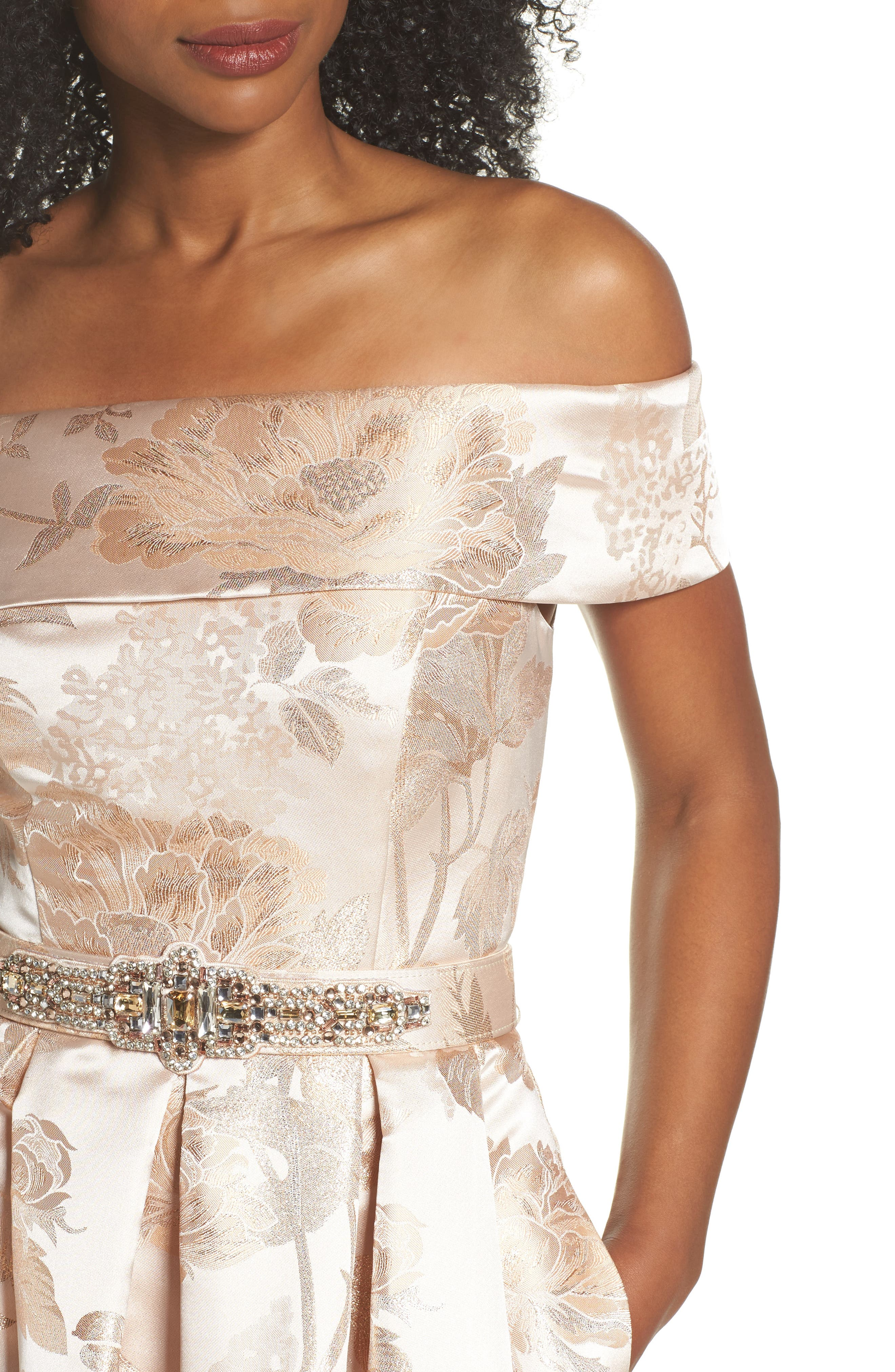Belted Off the Shoulder Jacquard Ballgown,                             Alternate thumbnail 4, color,                             Champagne