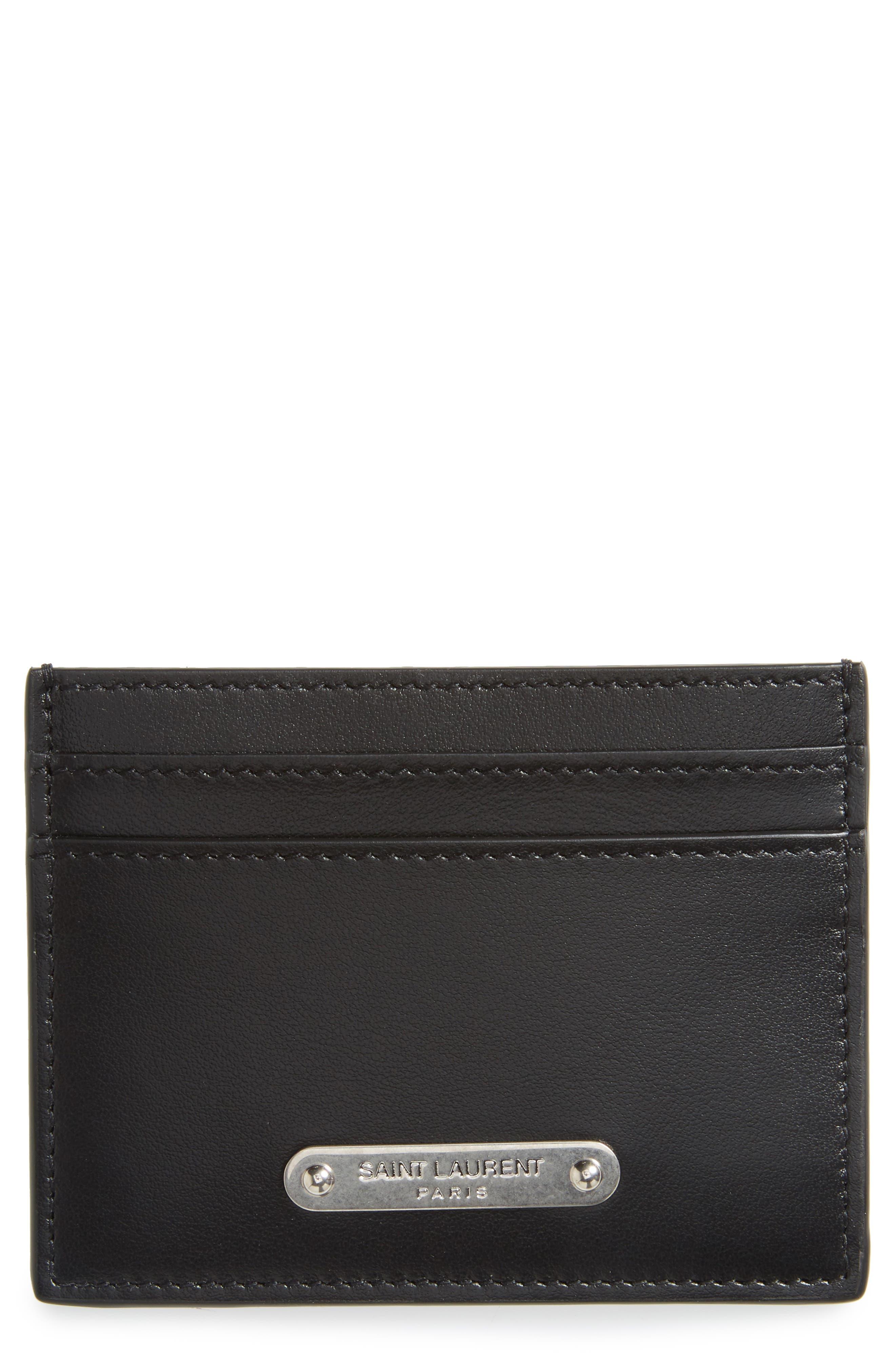 Main Image - Saint Laurent Plate Leather Card Case