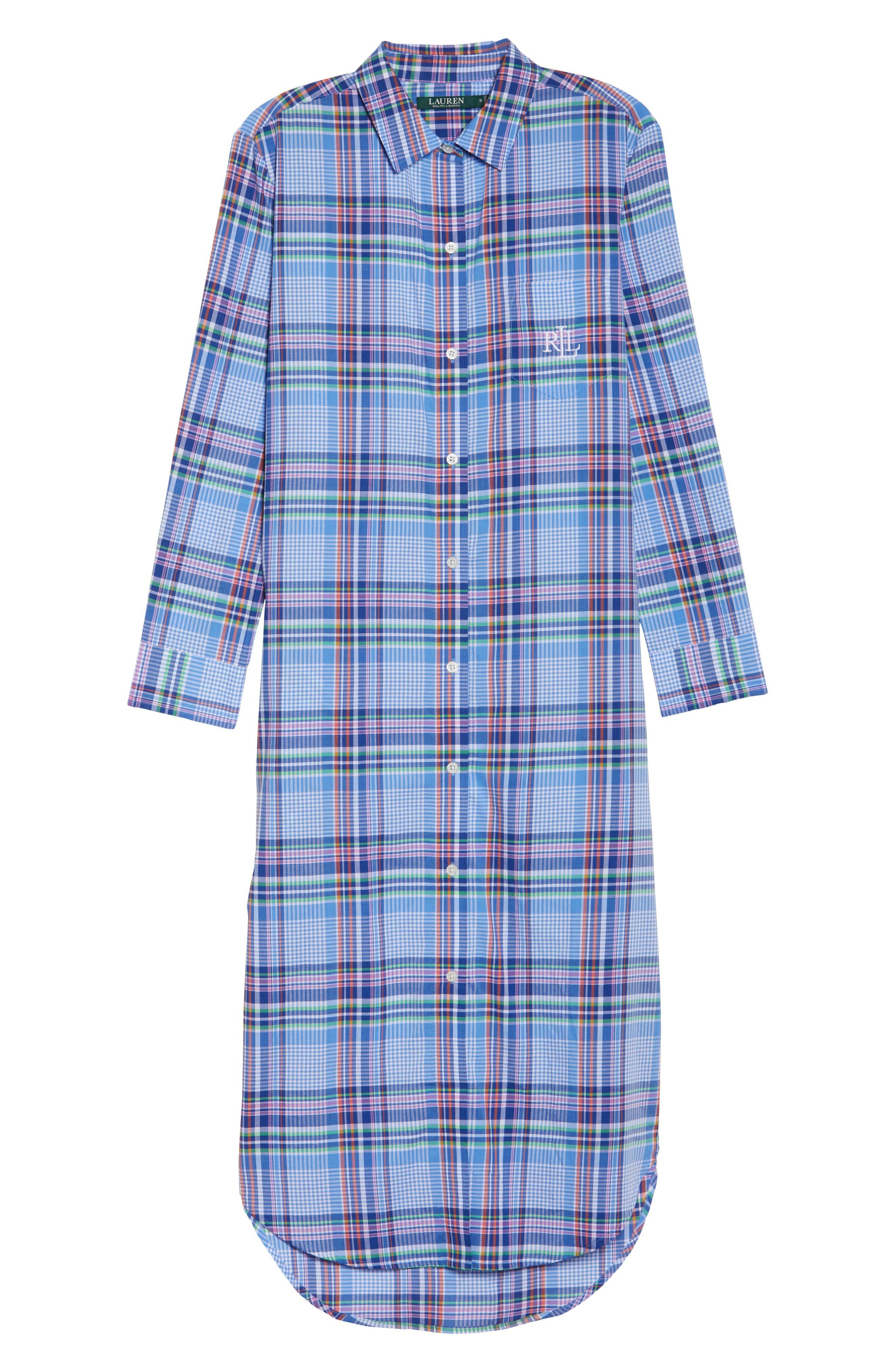 Ballet Plaid Sleep Shirt,                             Alternate thumbnail 4, color,                             Blue Plaid