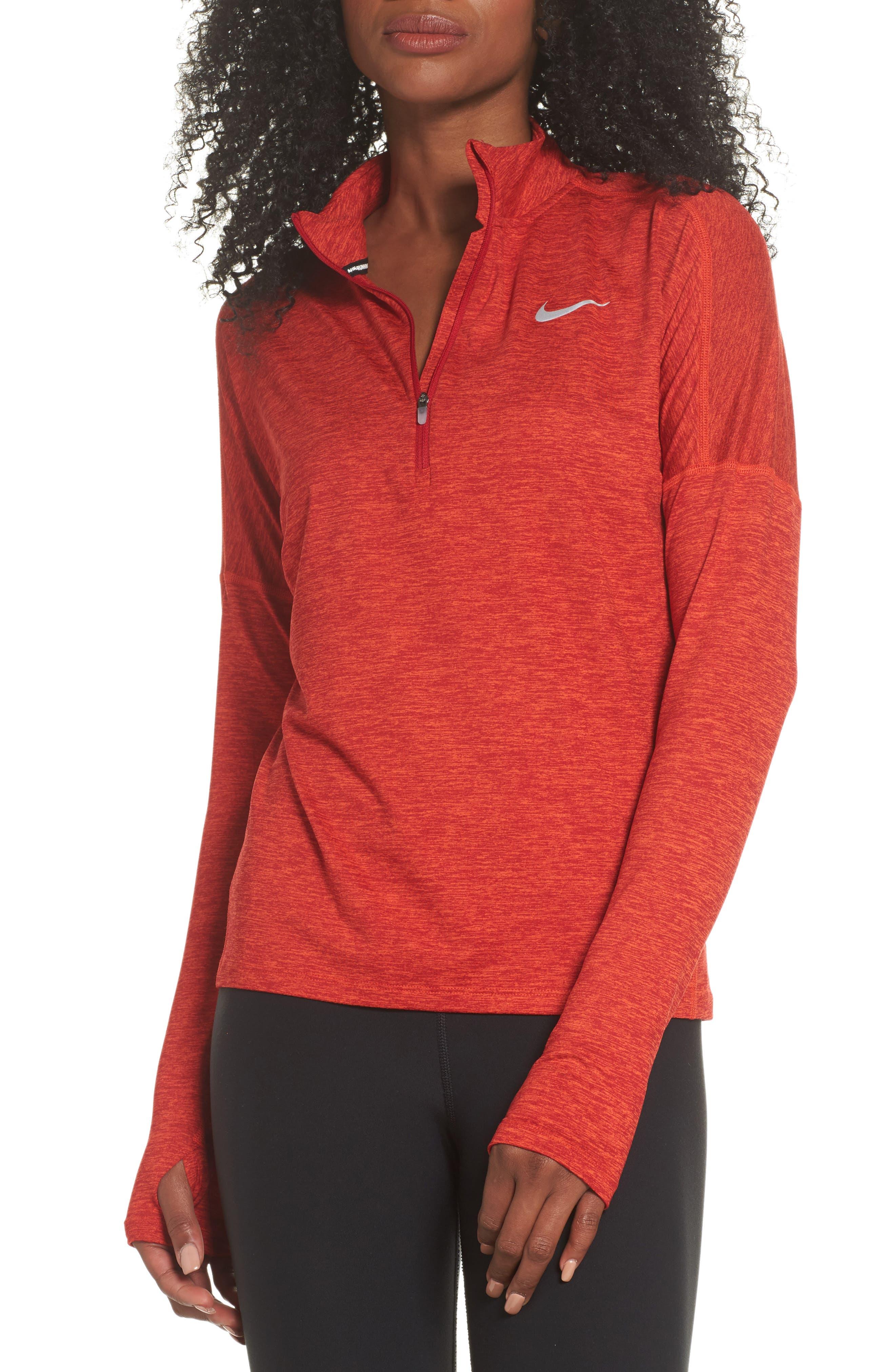 Dry Element Half Zip Top,                         Main,                         color, Gym Red/ Habanero Red/ Heather