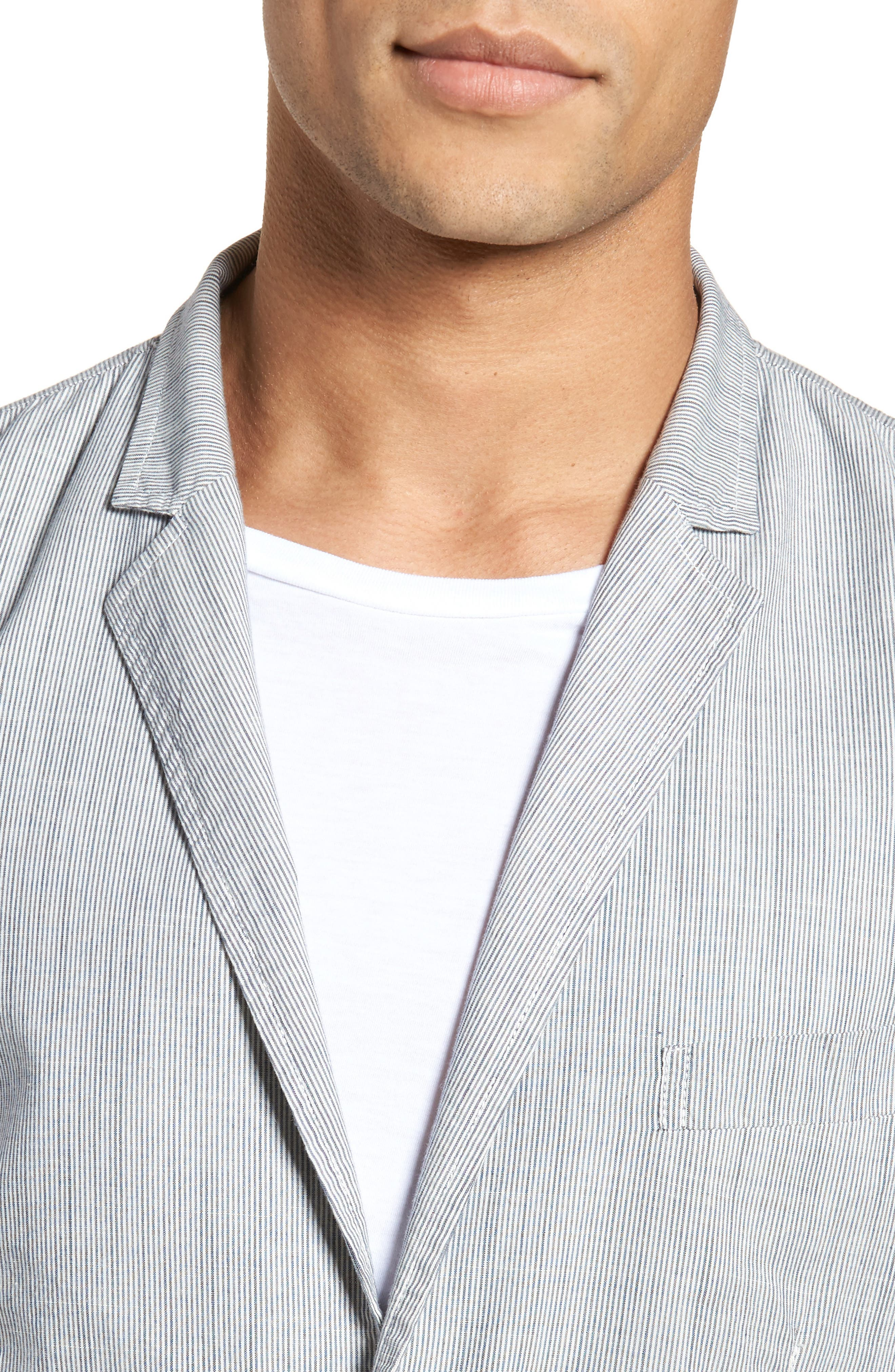 Stripe Cotton Blazer,                             Alternate thumbnail 4, color,                             True Gray