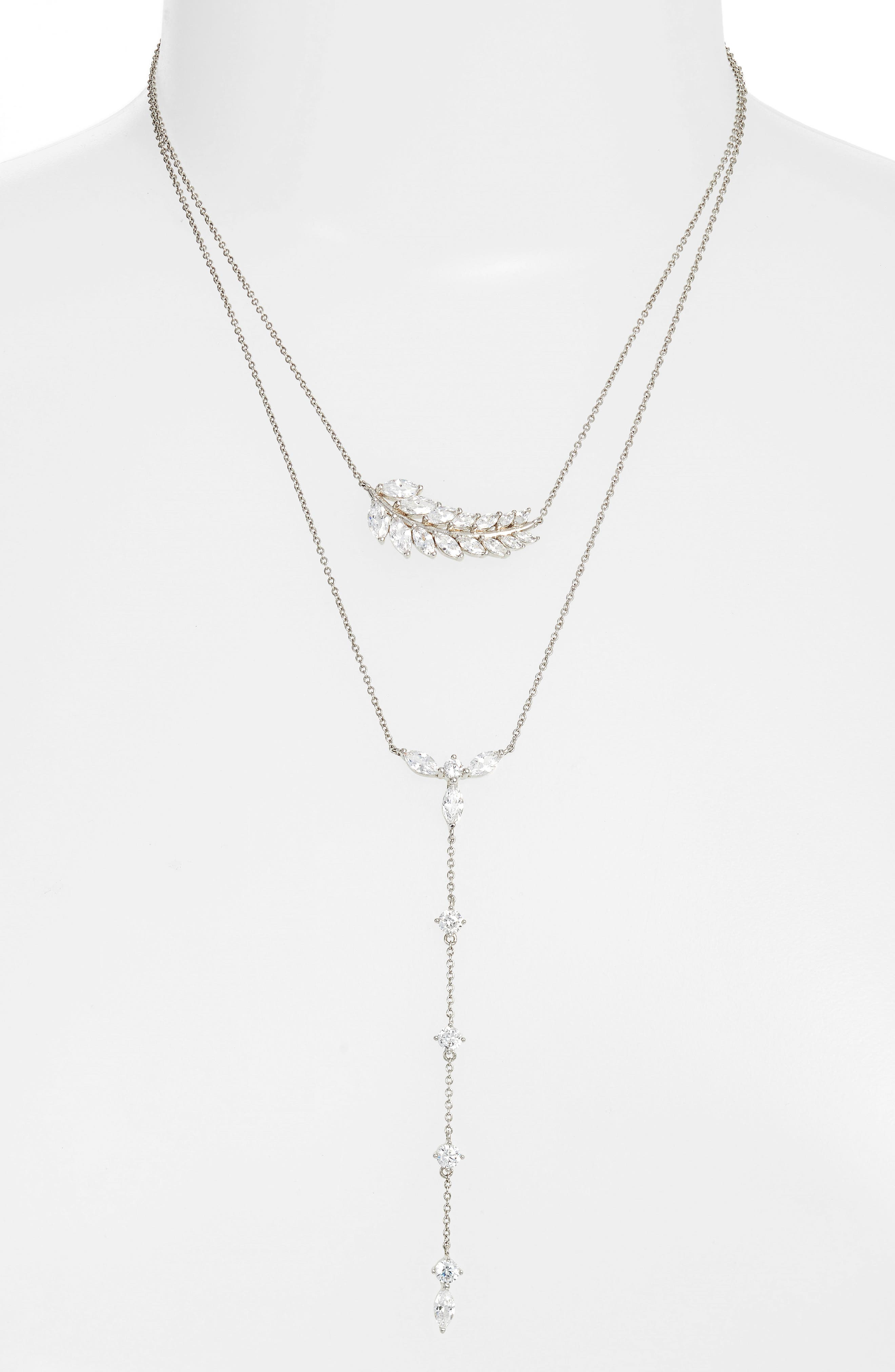 Fern Layered Lariat Necklace,                             Main thumbnail 1, color,                             Silver/ White Cz
