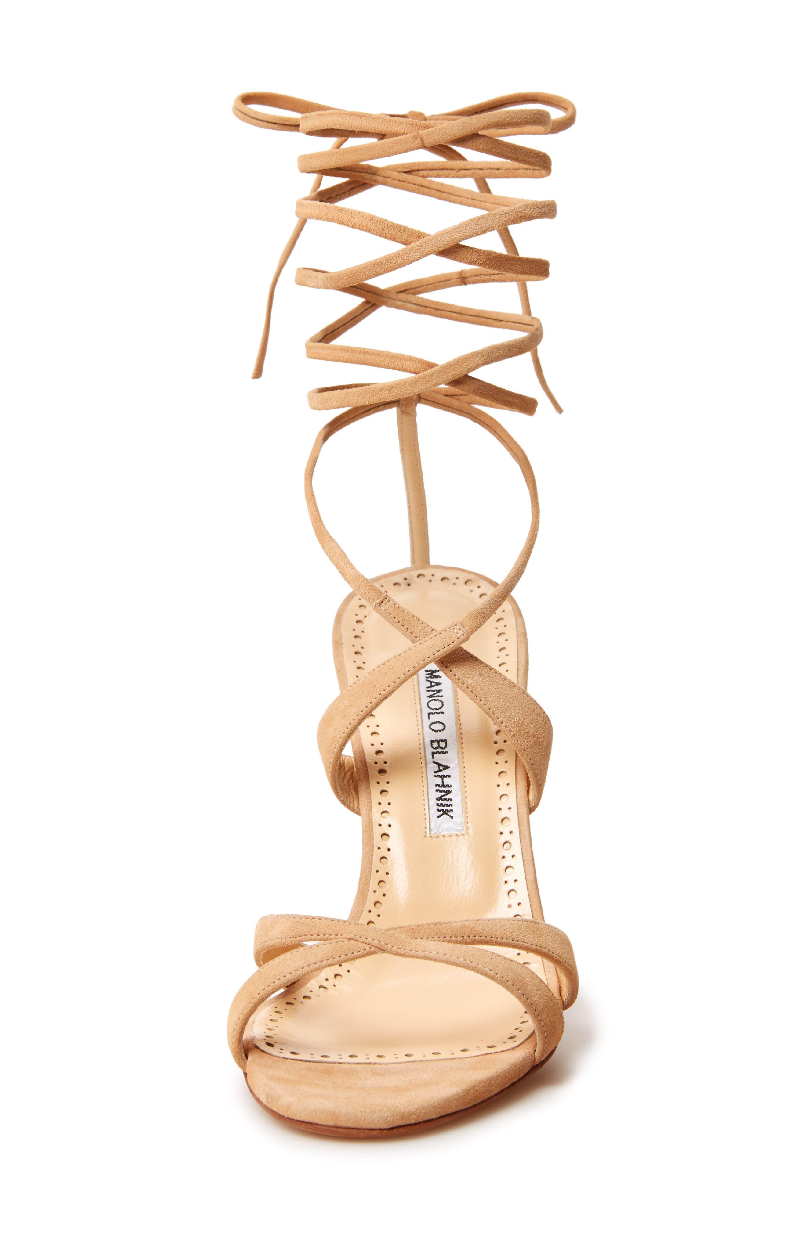 Criss Ankle Tie Sandal,                             Alternate thumbnail 4, color,                             Light Camel