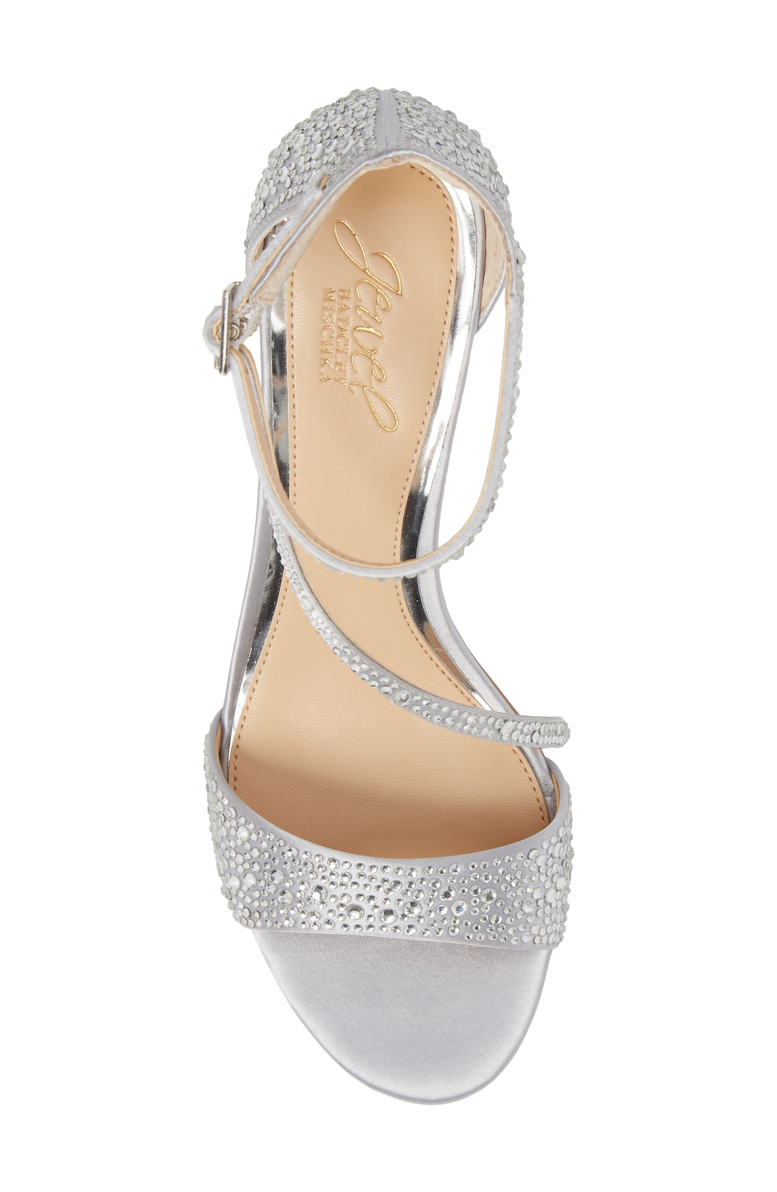 Tangerine Crystal Embellished Sandal,                             Alternate thumbnail 5, color,                             Silver Satin