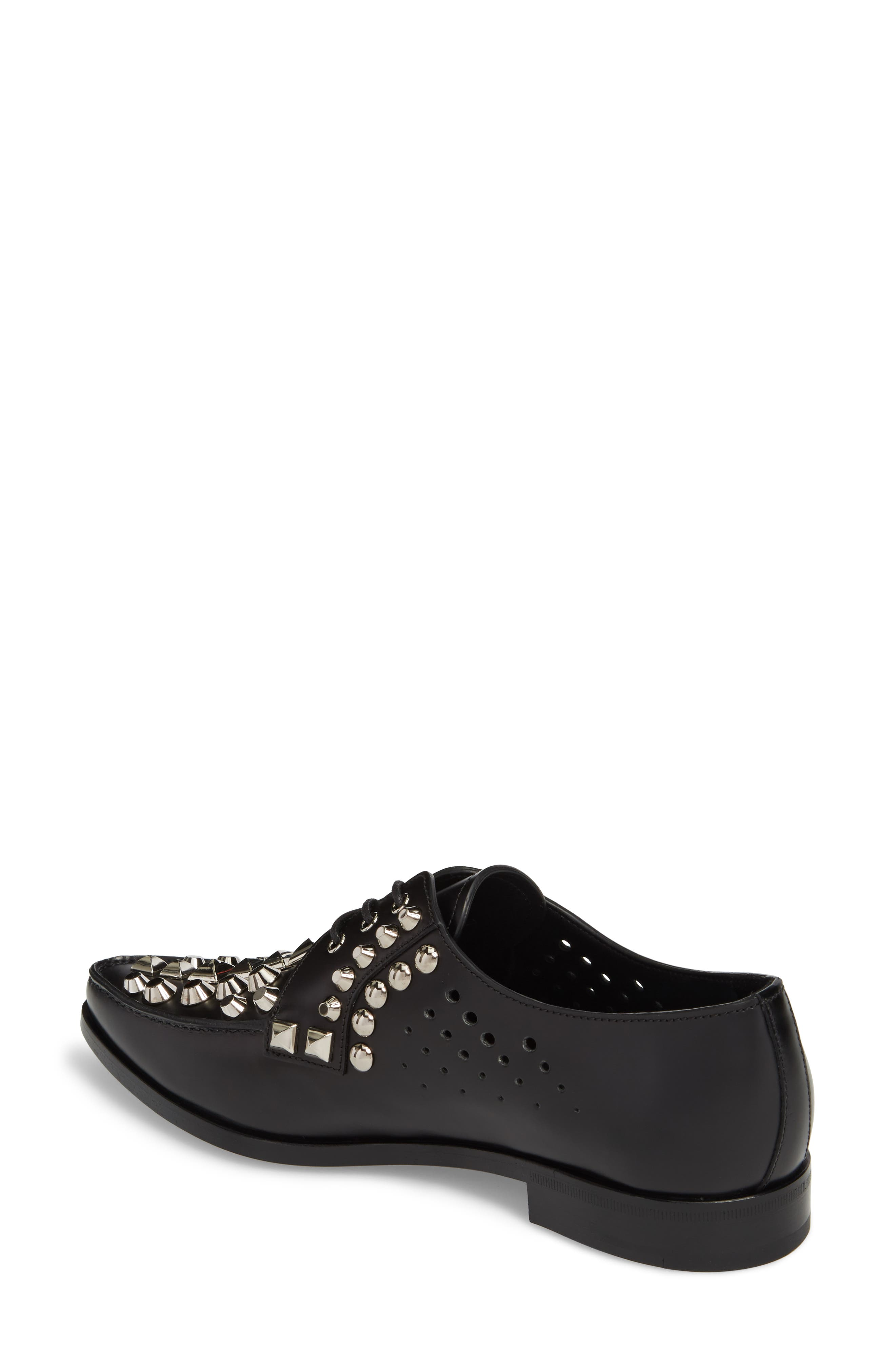Studded Pointy Toe Oxford,                             Alternate thumbnail 2, color,                             Black