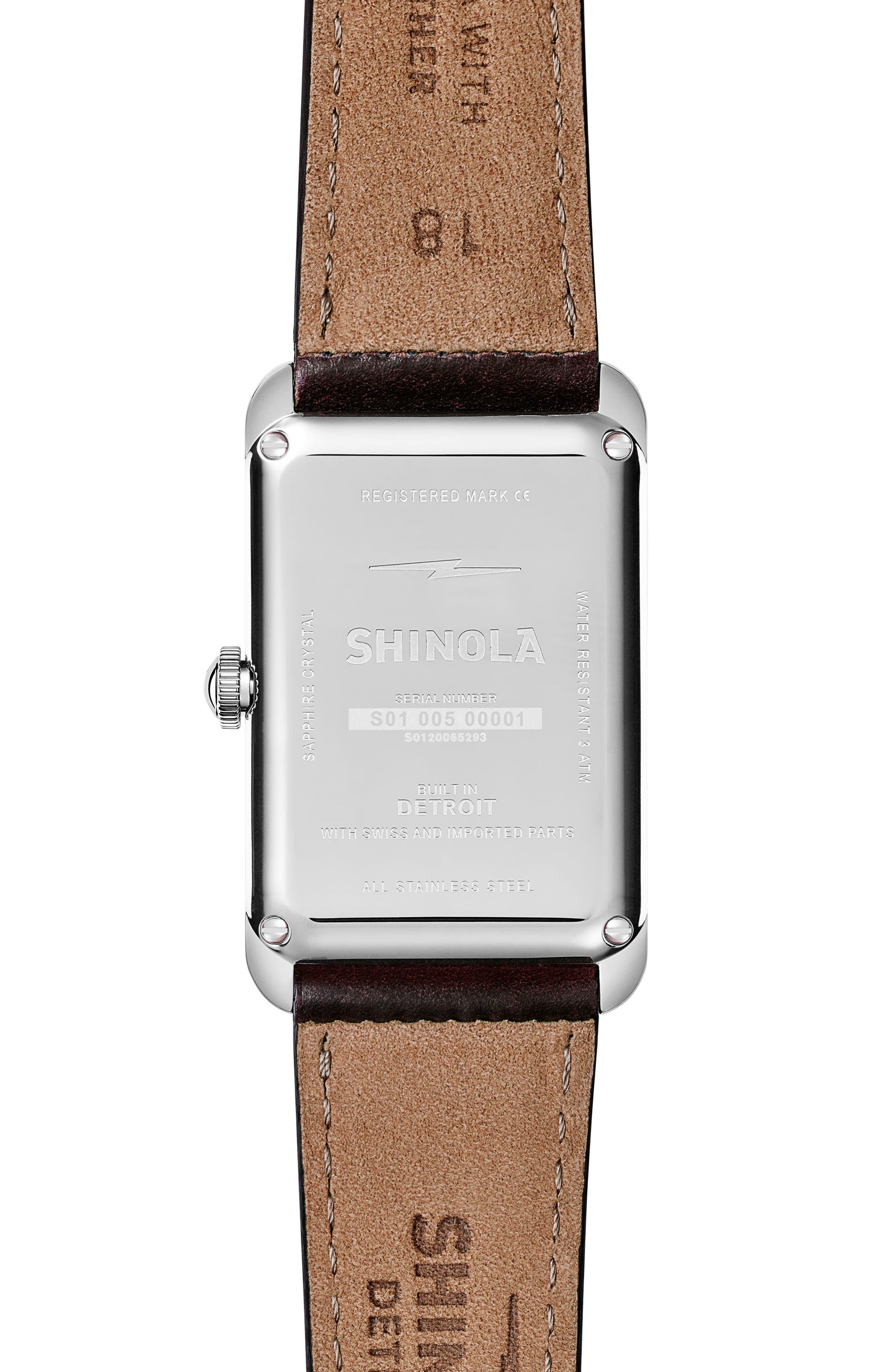 Alternate Image 2  - Shinola The Muldowney Rectangular Leather Strap Watch, 24mm x 32mm