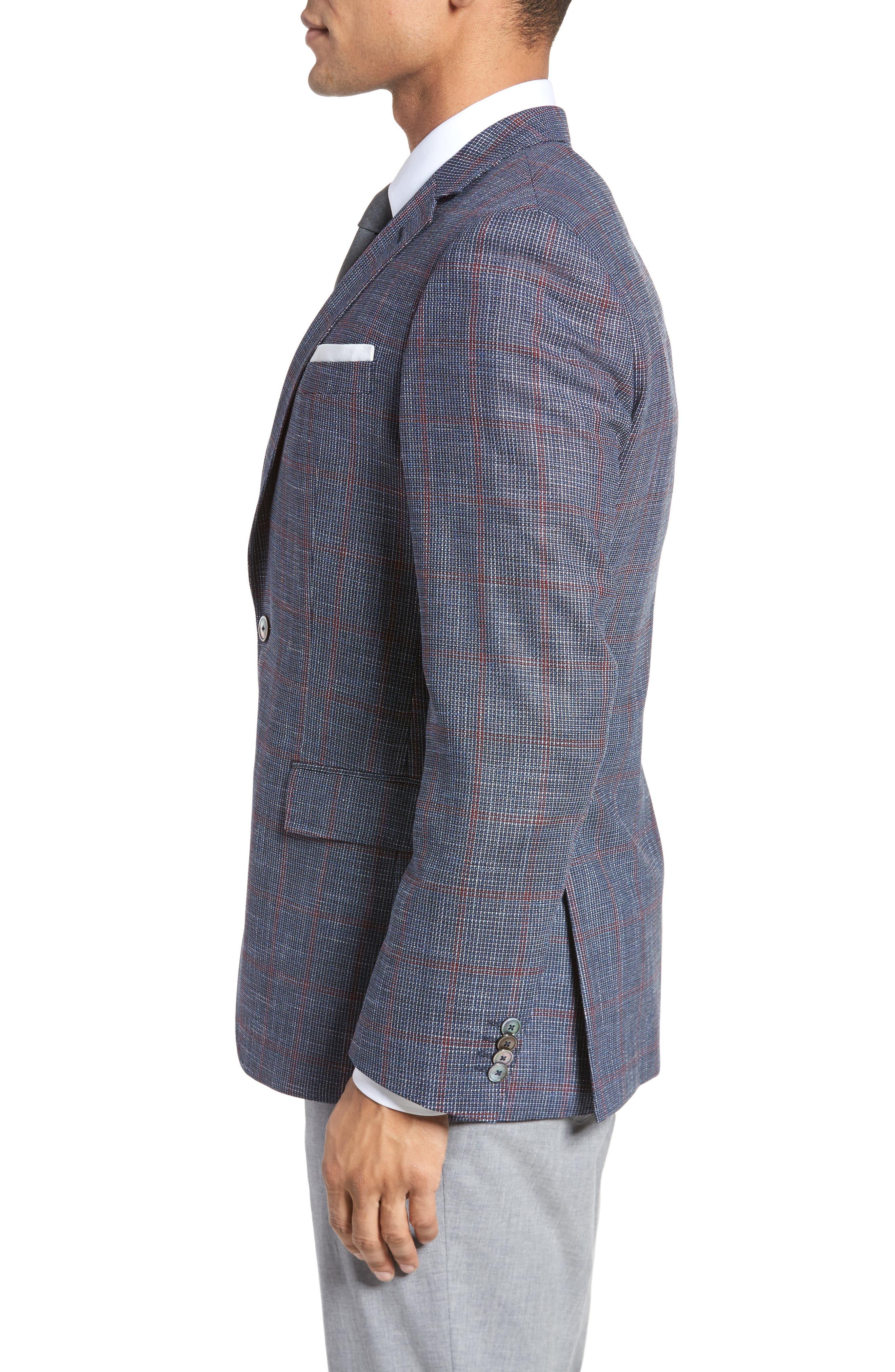 Hutsons Trim Fit Stretch Windowpane Wool Blend Sport Coat,                             Alternate thumbnail 3, color,                             Open Blue