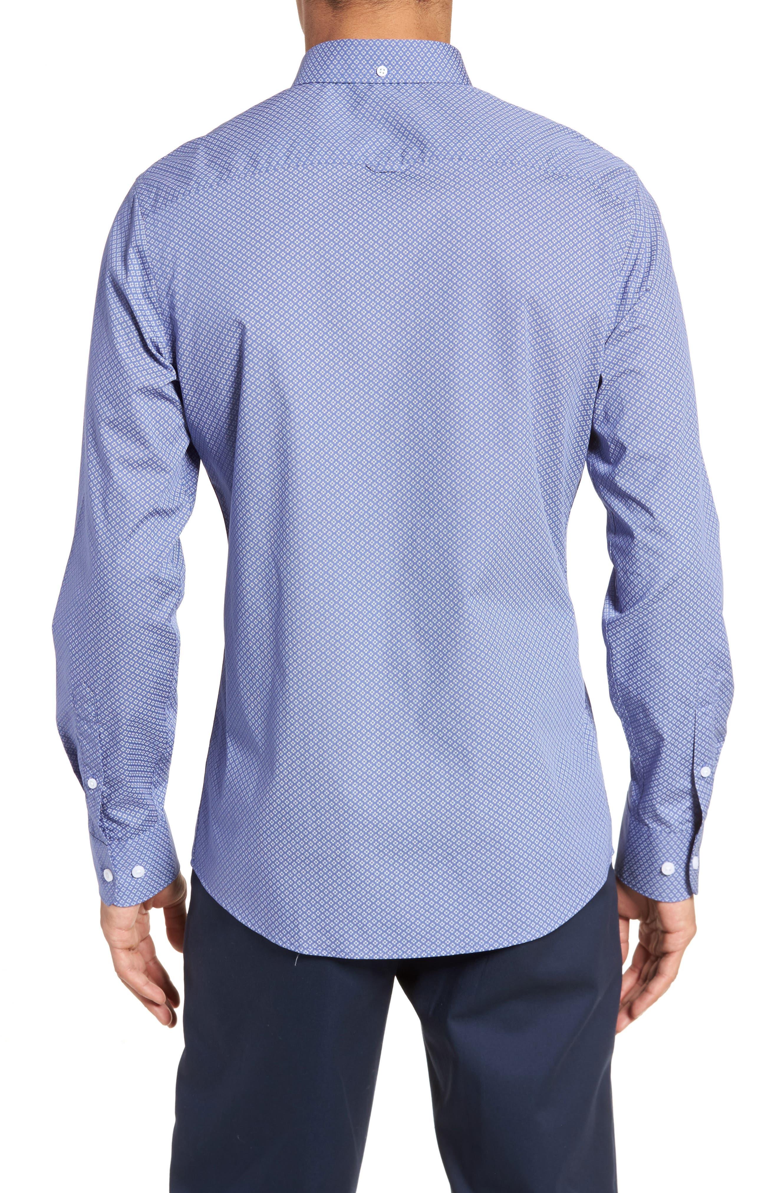 Non-Iron Print Sport Shirt,                             Alternate thumbnail 3, color,                             Blue White Micro Zia