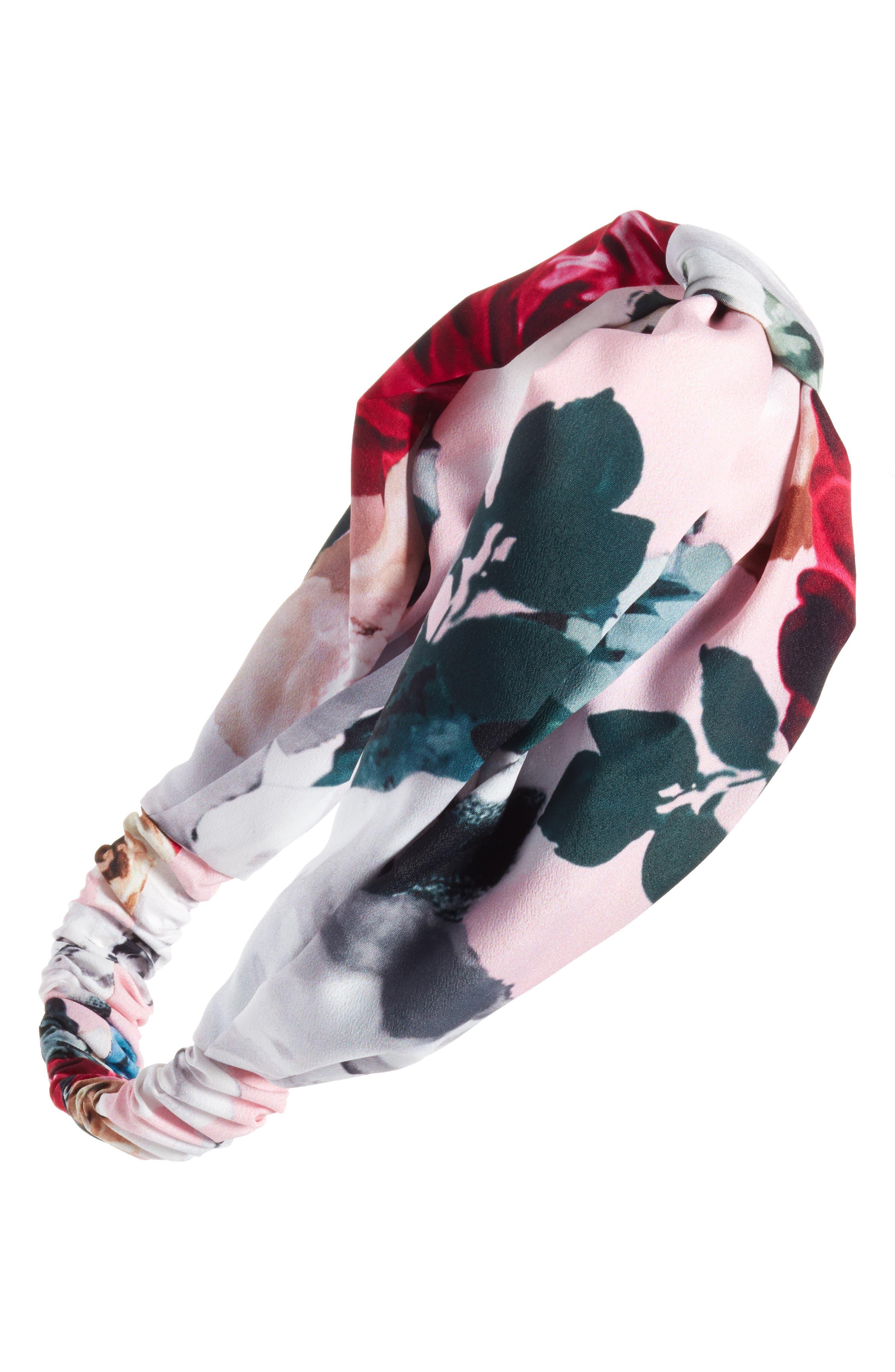 Flower Print Knot Head Wrap,                             Main thumbnail 1, color,                             Pink Multi