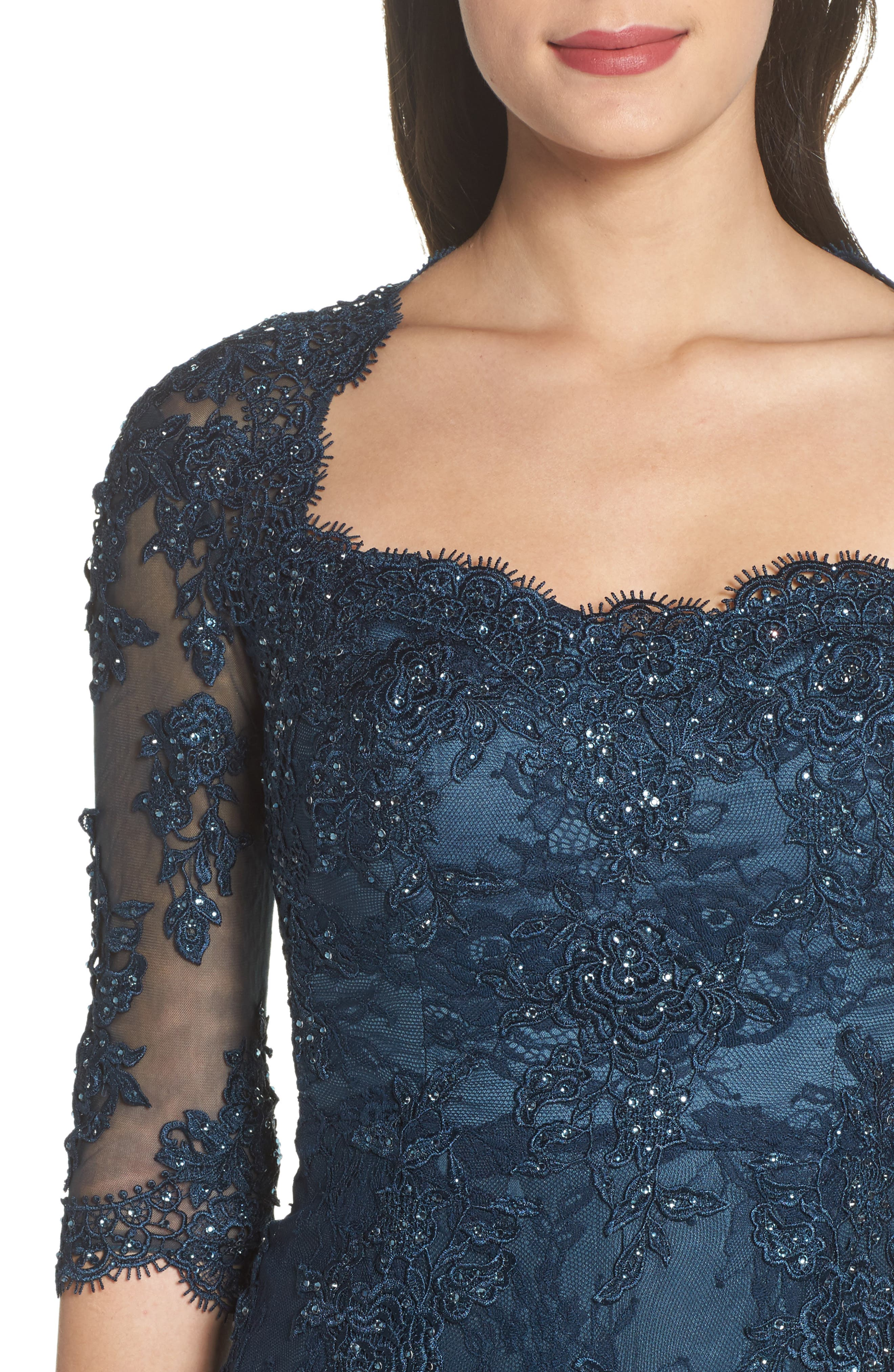 Beaded Lace A-Line Gown,                             Alternate thumbnail 4, color,                             Dark Teal