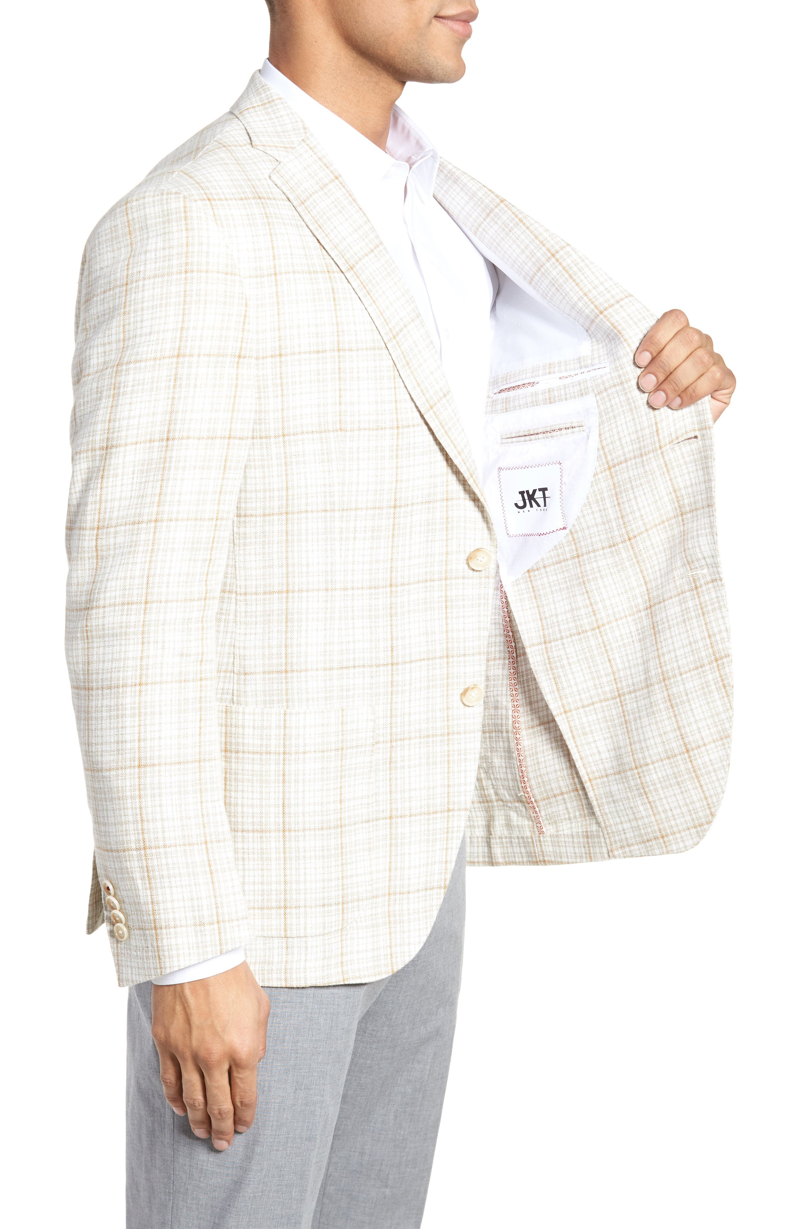 Trent Trim Fit Plaid Linen Sport Coat,                             Alternate thumbnail 4, color,                             Light Cream