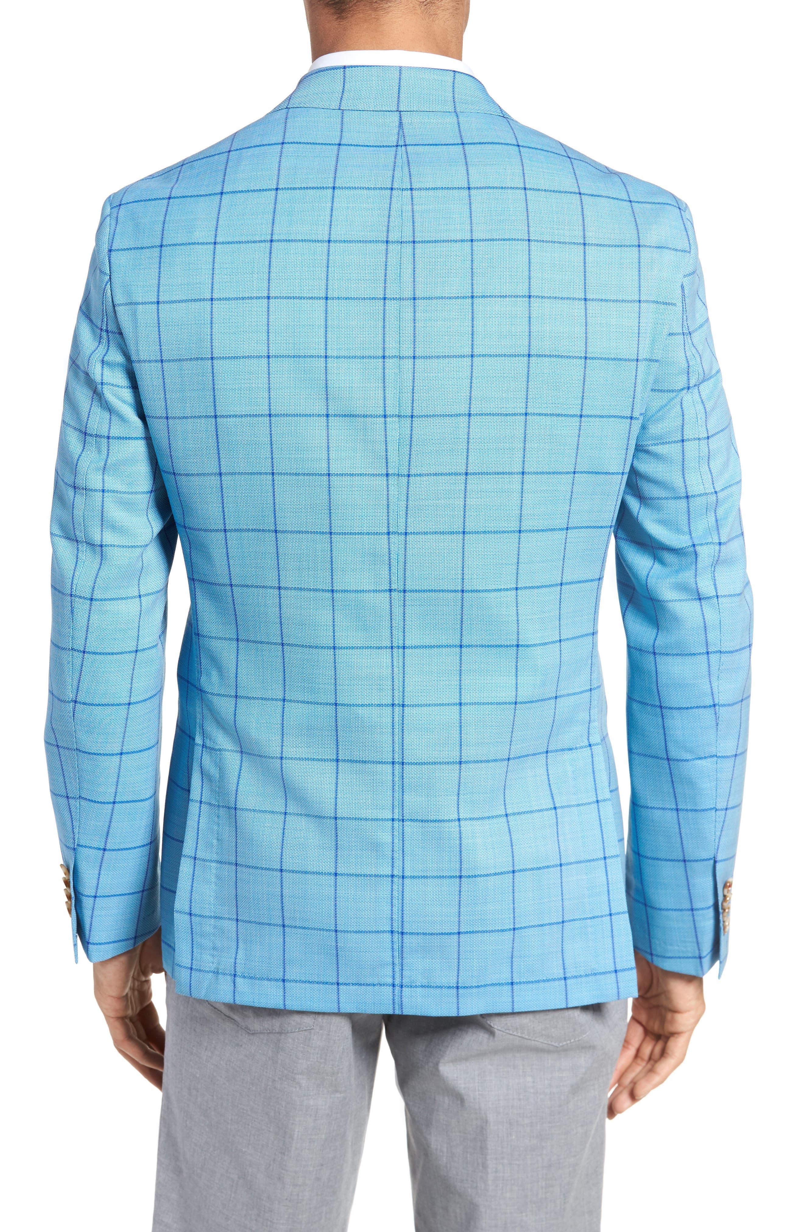 Trent Trim Fit Windowpane Wool Sport Coat,                             Alternate thumbnail 2, color,                             Blue