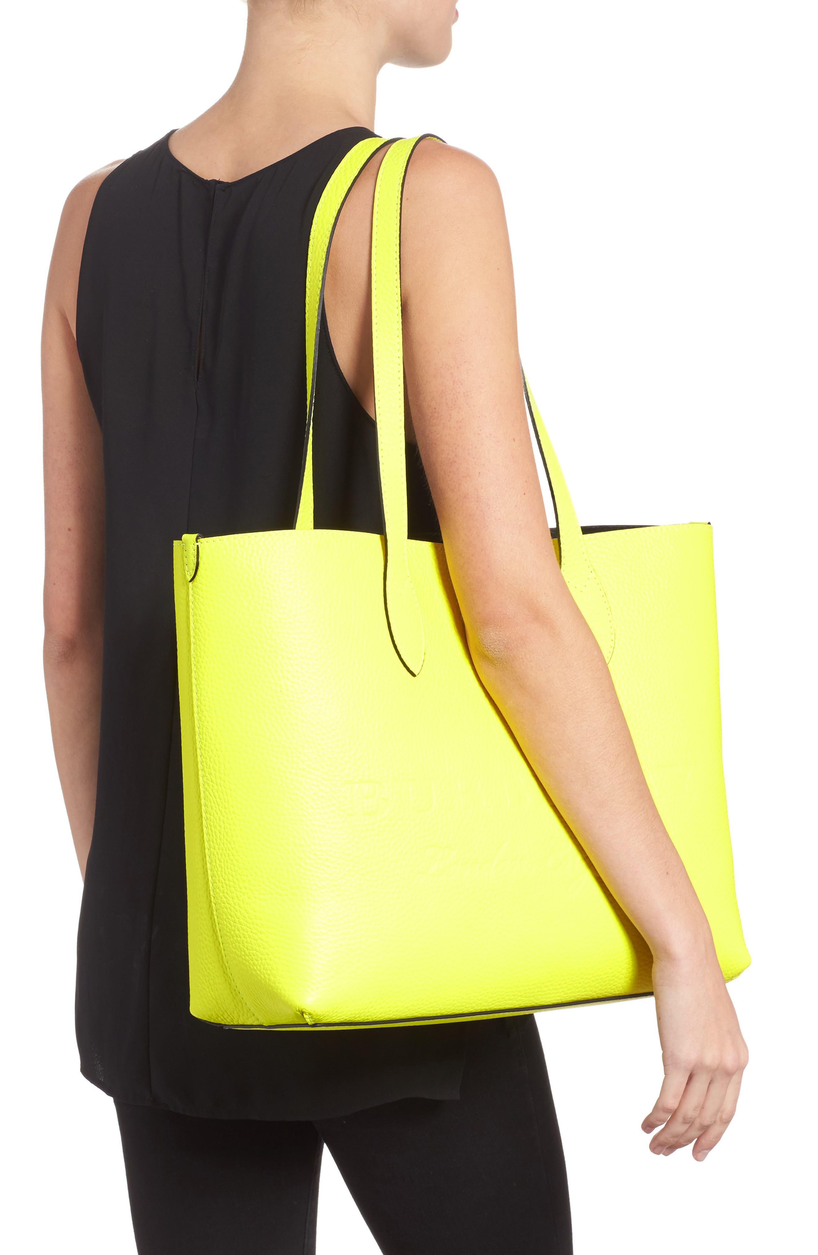 Large Remington Logo Leather Tote,                             Alternate thumbnail 2, color,                             Neon Yellow