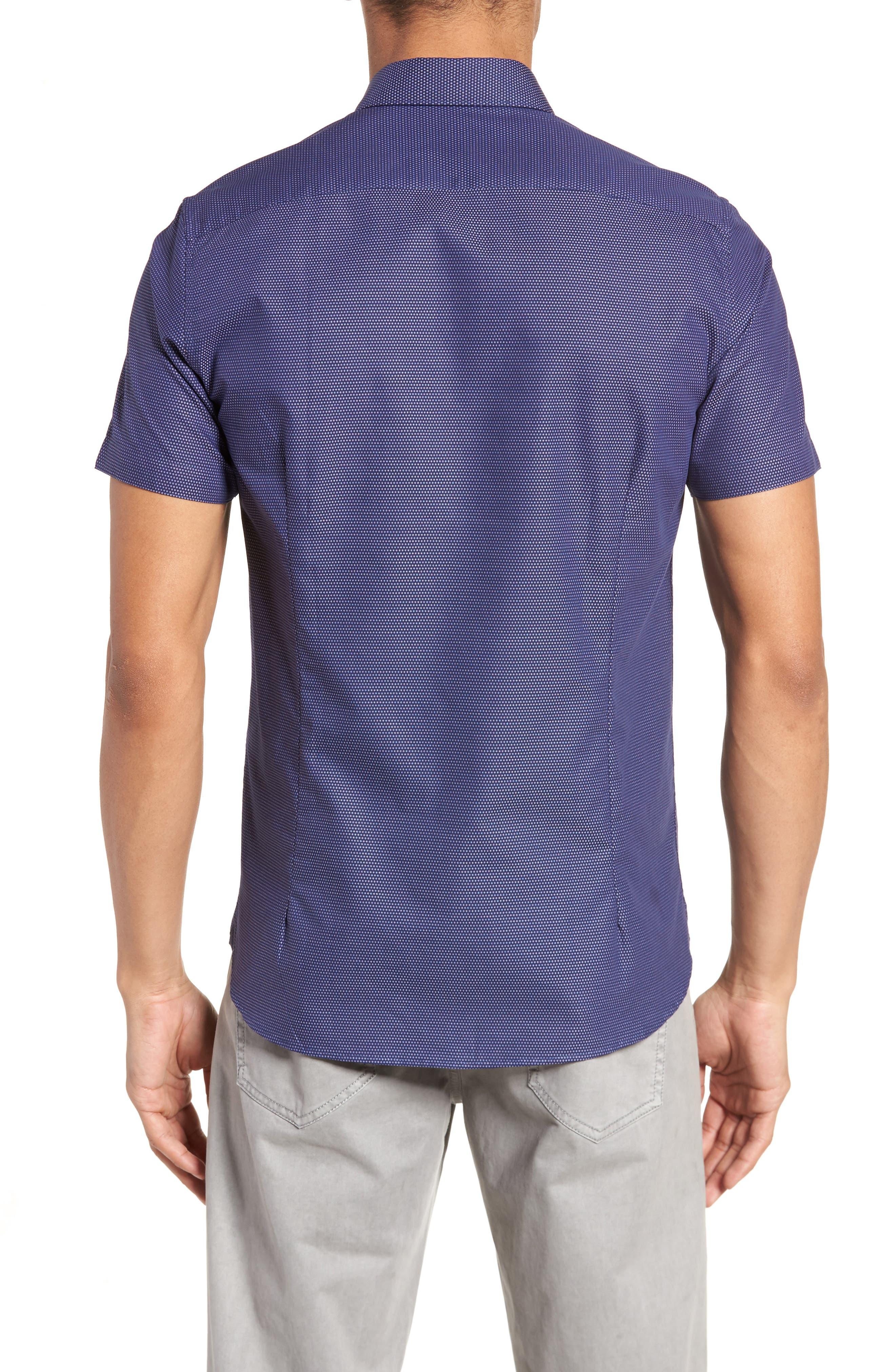Dotdots Trim Fit Dot Short Sleeve Sport Shirt,                             Alternate thumbnail 3, color,                             Navy